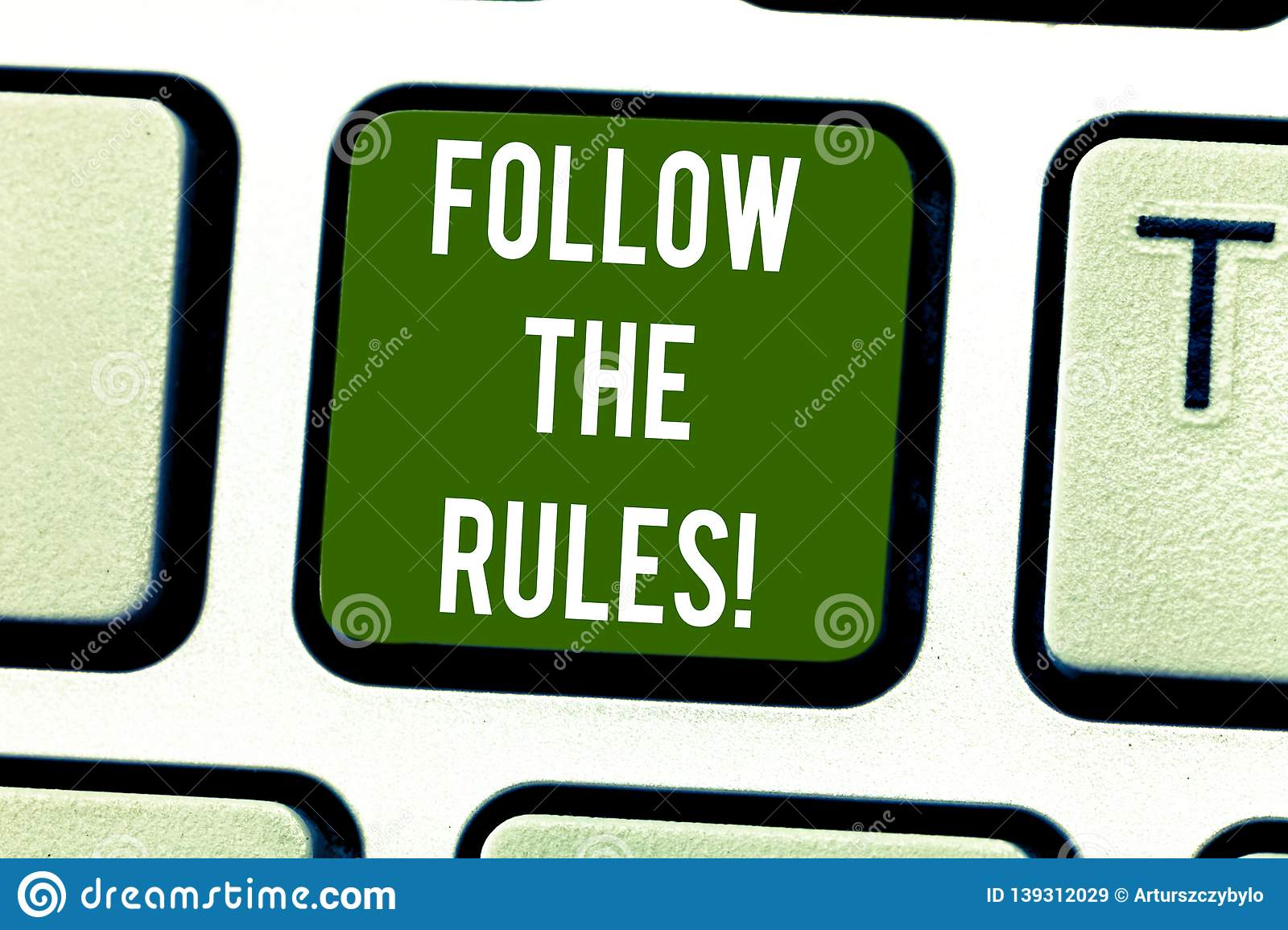 Handwriting text writing Follow The Rules. Concept meaning act in agreement or compliance with obey them Firmly Keyboard