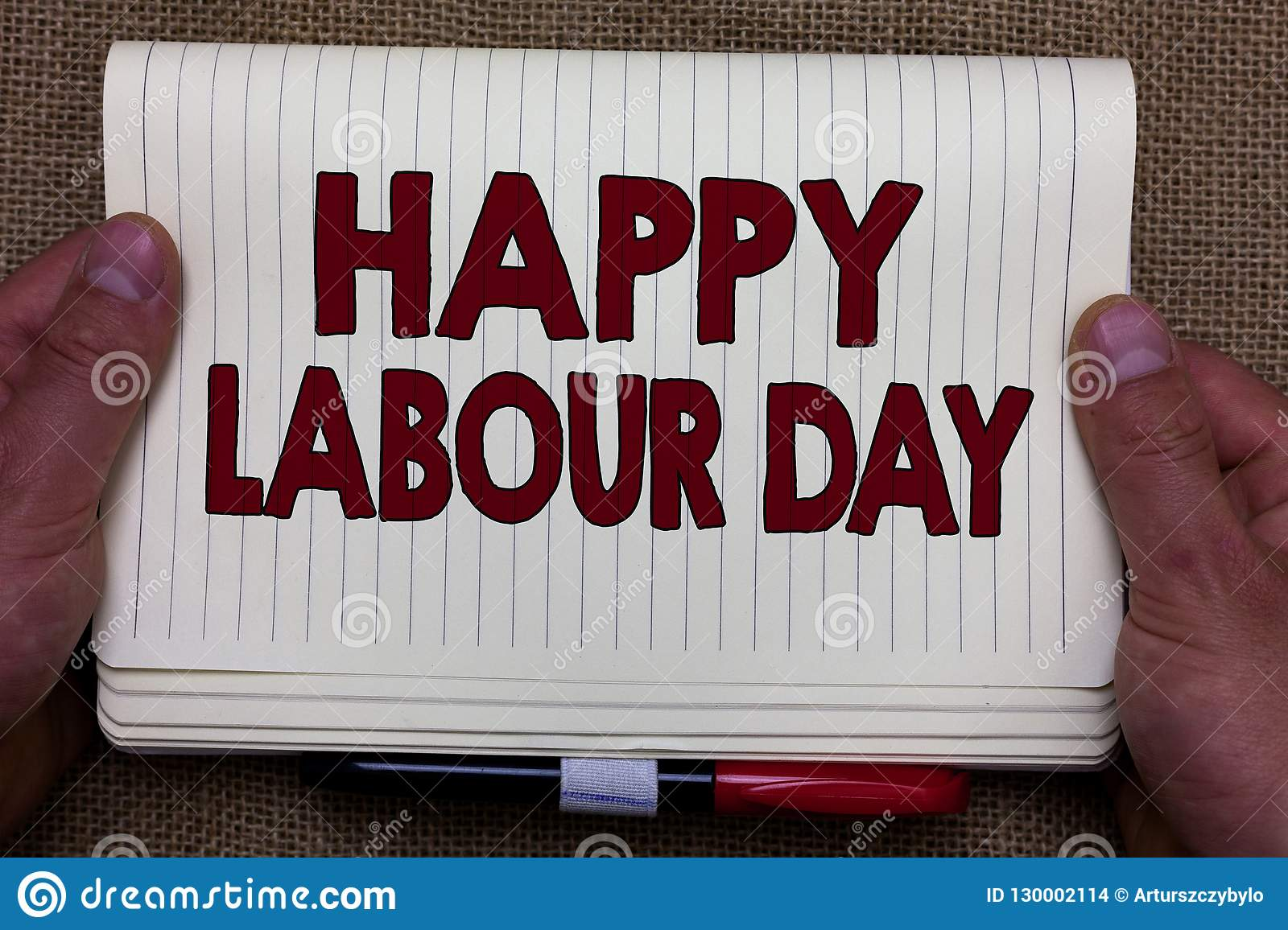 Handwriting Text Writing Happy Labour Day Concept Meaning Annual