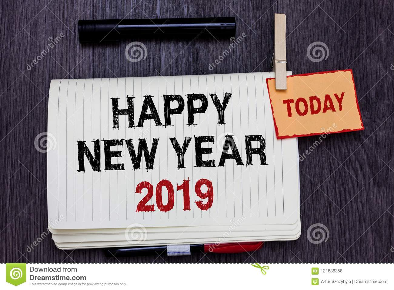 Handwriting Text Writing Happy New Year 2019. Concept Meaning ...
