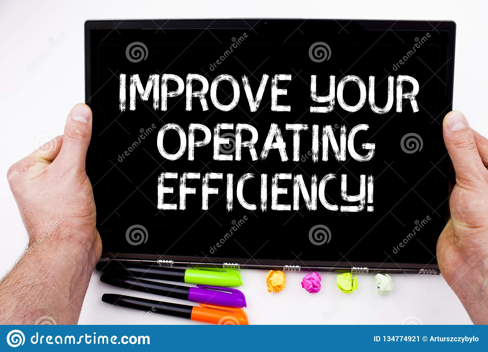 Handwriting text writing Improve Your Operating Efficiency. Concept meaning Make adjustments to be more efficient