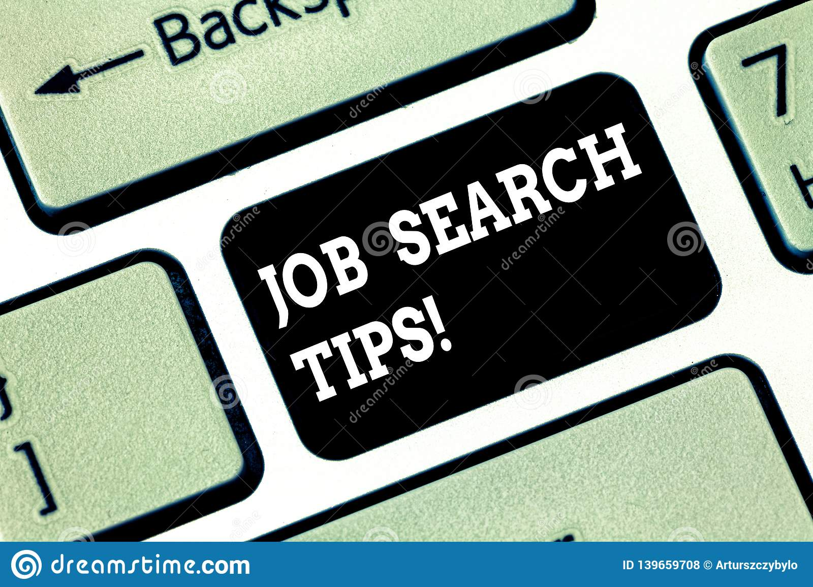 Handwriting text writing Job Search Tips. Concept meaning Recommendations to make a good resume to obtain a position