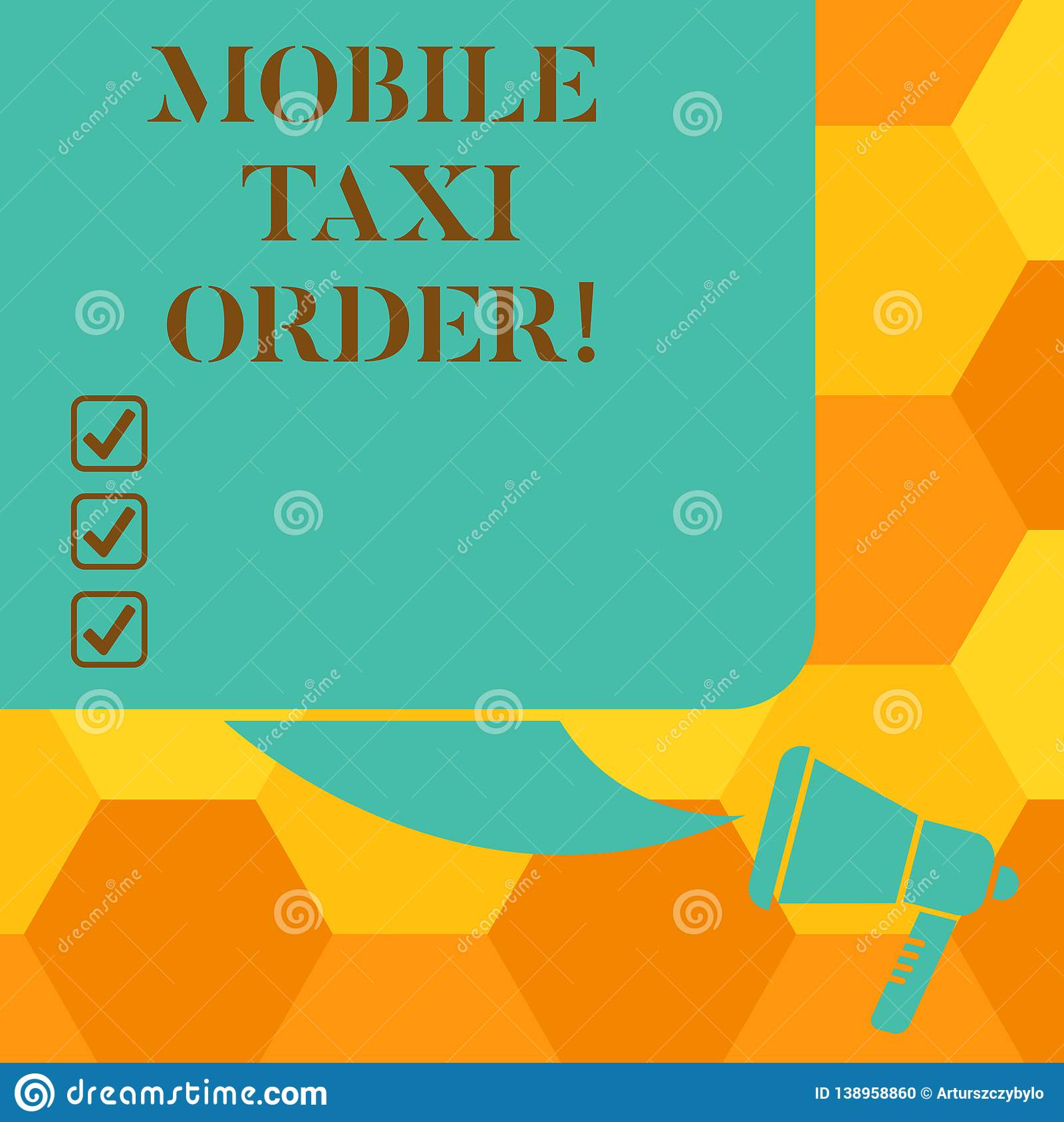 Handwriting Text Writing Mobile Taxi Order Concept Meaning Type Of