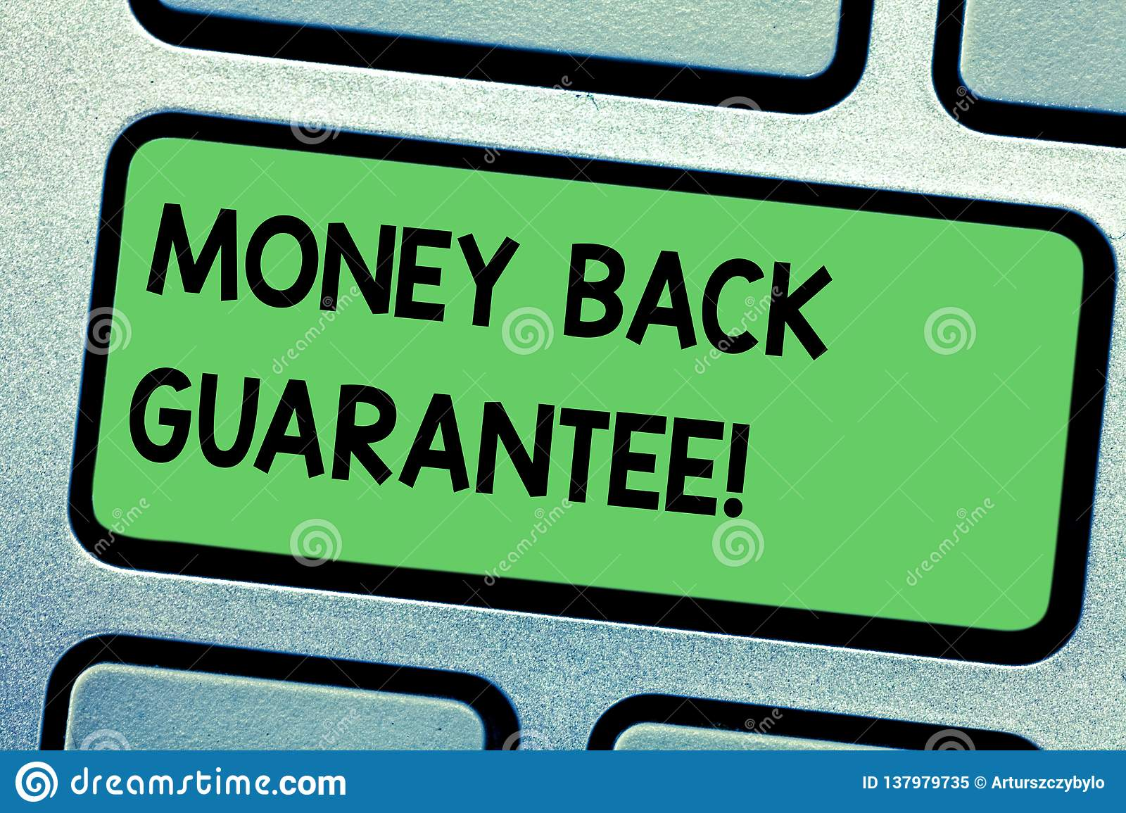 Handwriting text writing Money Back Guarantee. Concept meaning refund will be made if customer is not satisfied Keyboard