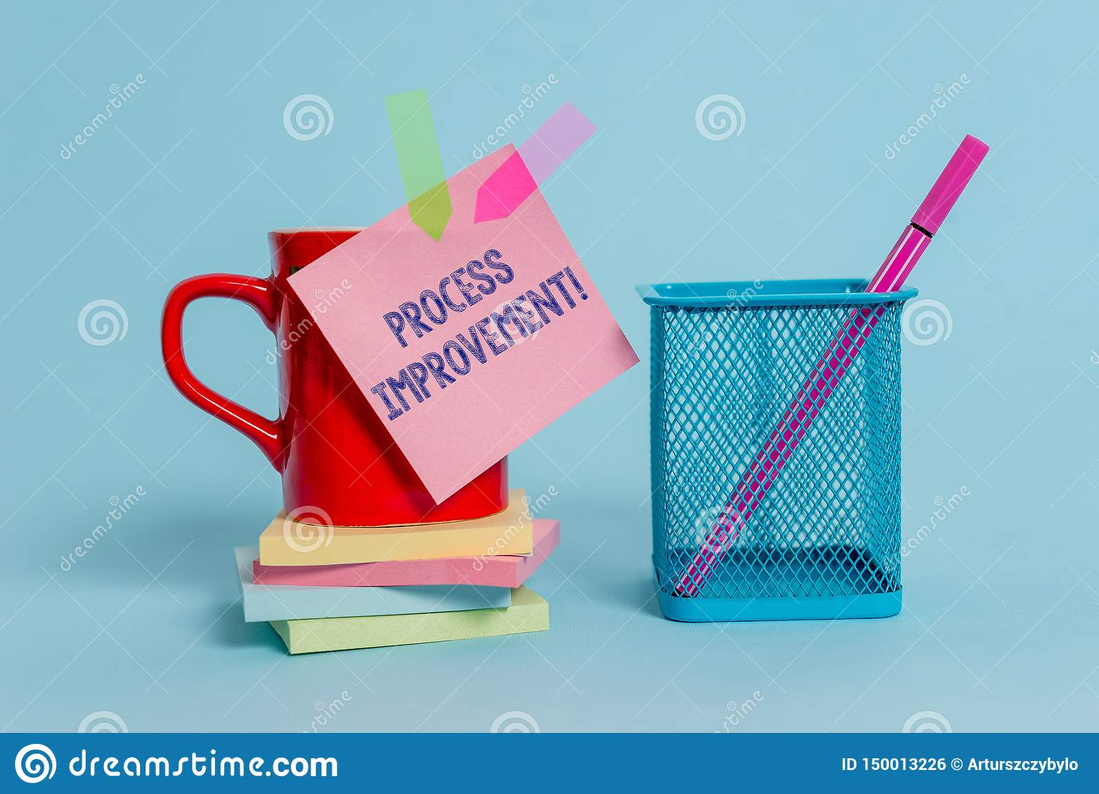 Handwriting text writing Process Improvement. Concept meaning Optimization Meet New Quotas Standard of Quality Cup note