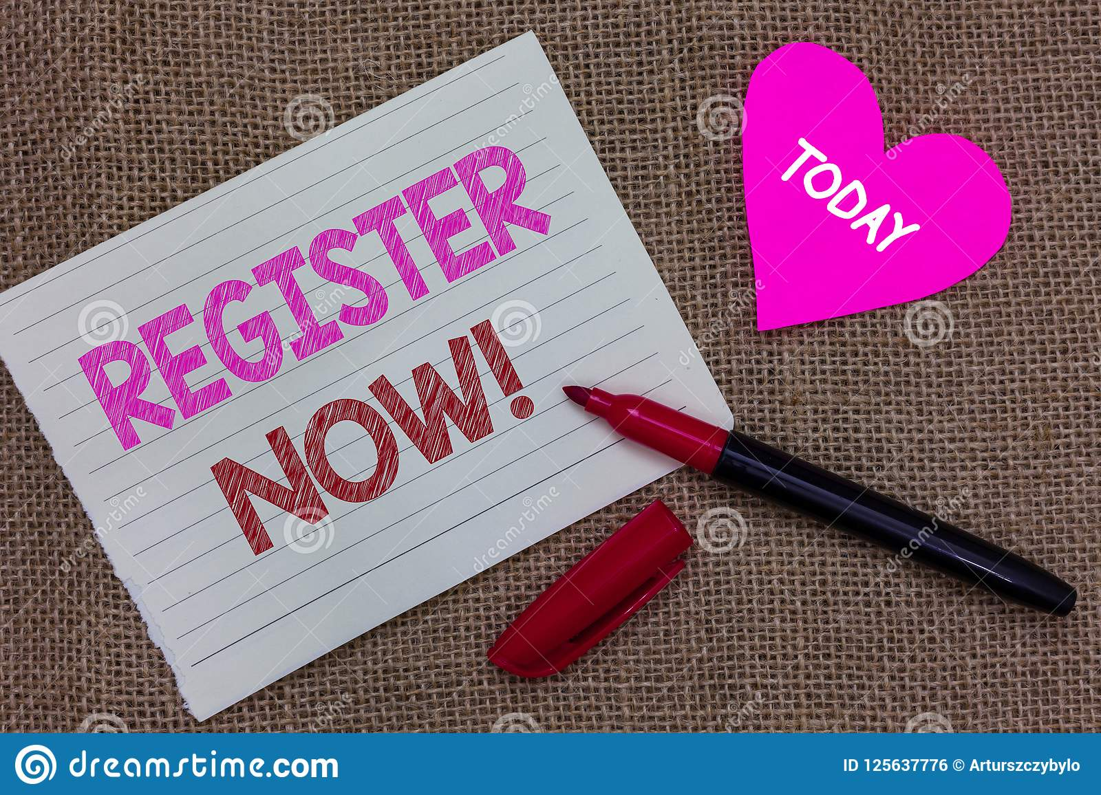 Handwriting Text Writing Register Now Concept Meaning Name In An