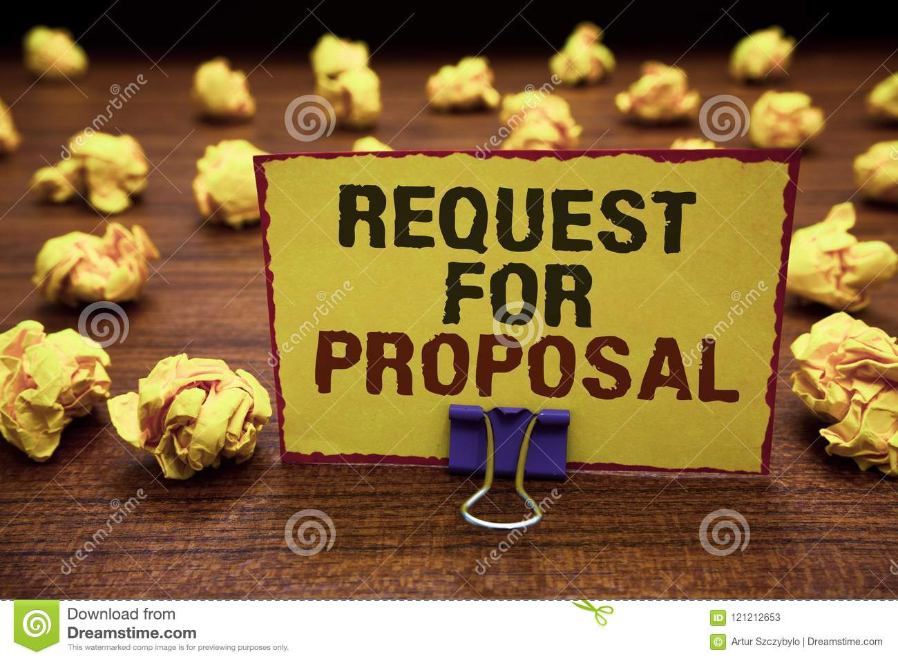 Handwriting text writing Request For Proposal. Concept meaning document contains bidding process by agency or company Yellow stick
