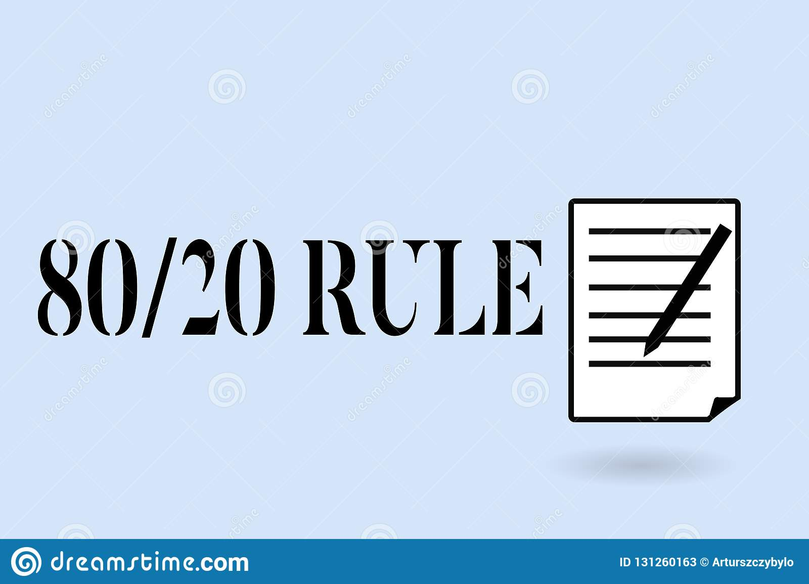 Handwriting Text Writing 80 20 Rule  Concept Meaning Pareto