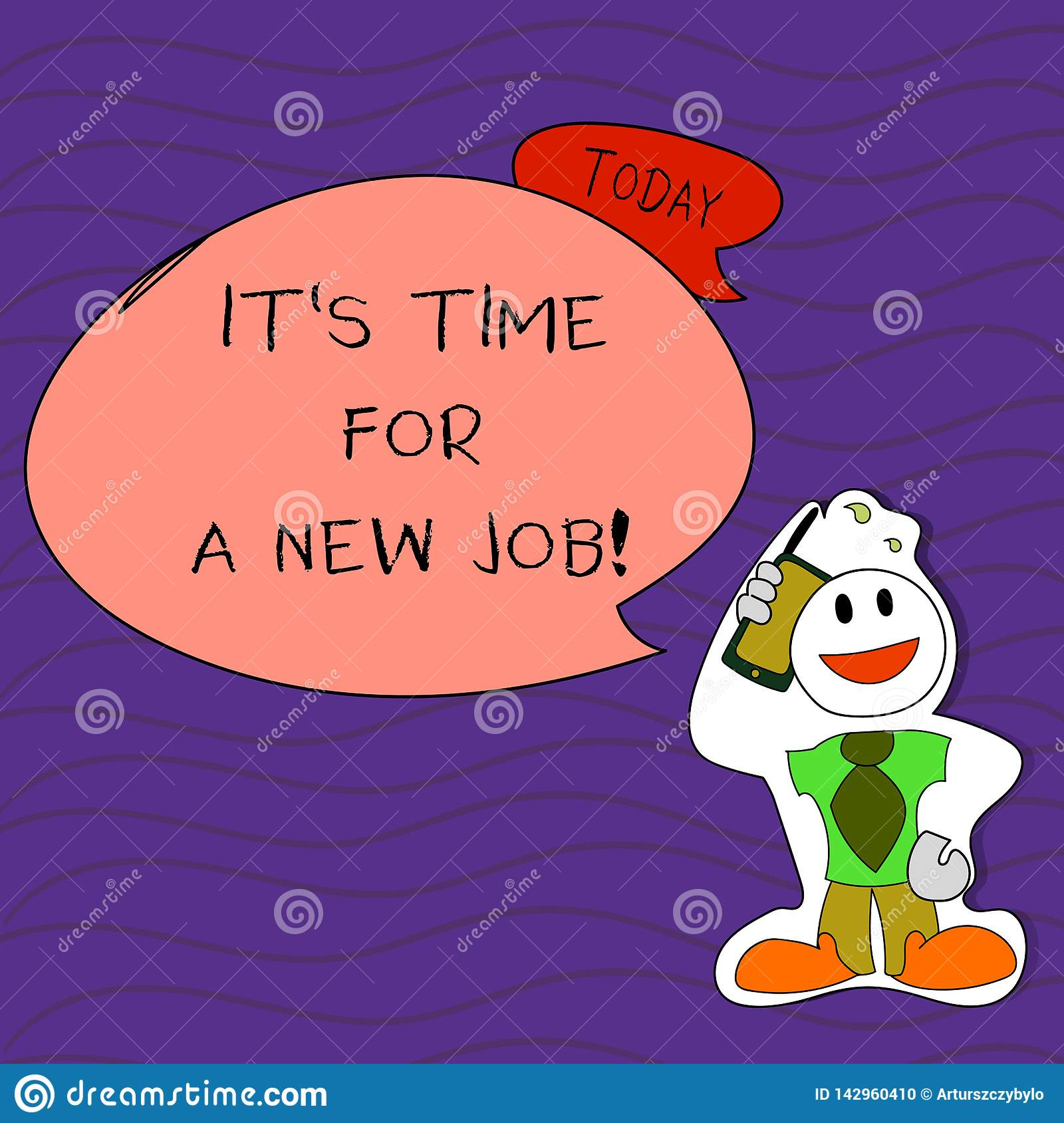 Handwriting text writing It S Time For A New Job. Concept meaning having paid position regular employment Smiley Face