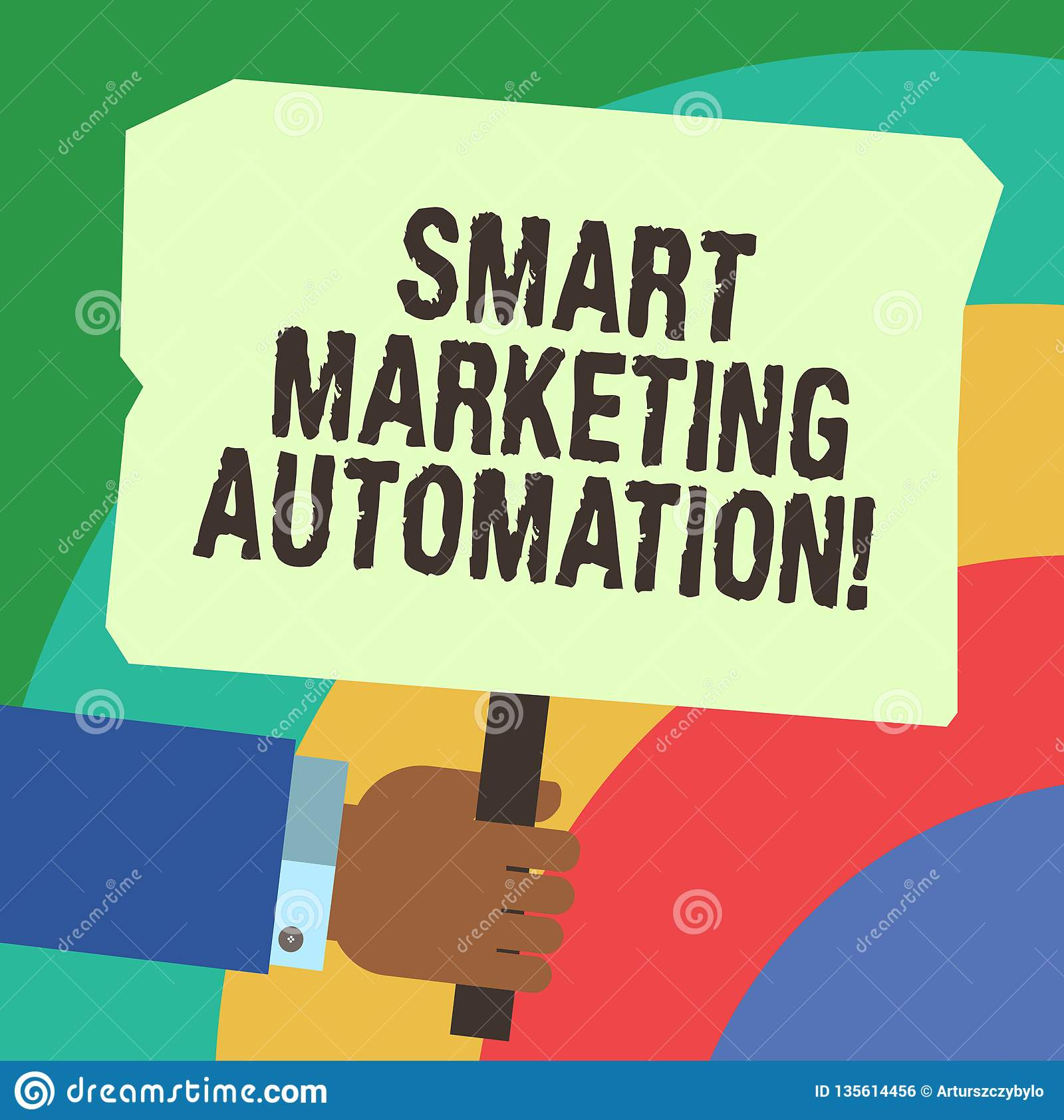 Handwriting Text Writing Smart Marketing Automation  Concept