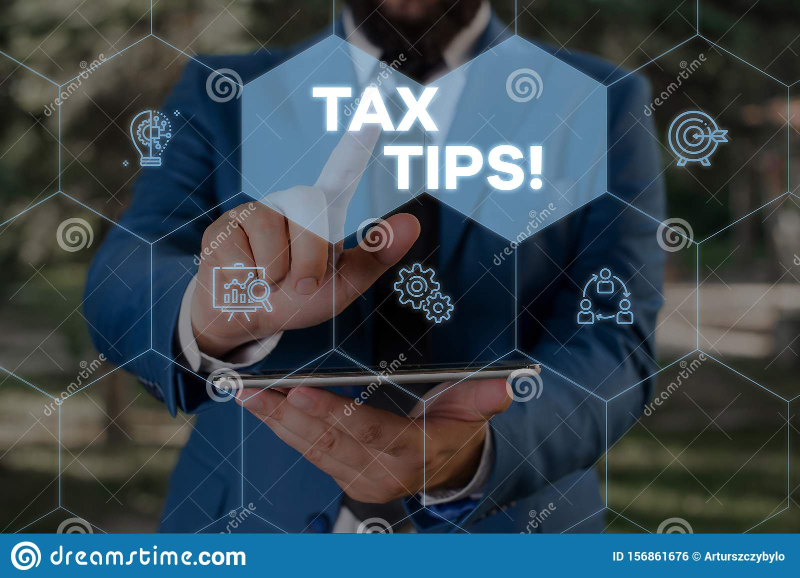 Handwriting text writing Tax Tips. Concept meaning compulsory contribution to state revenue levied by government Male