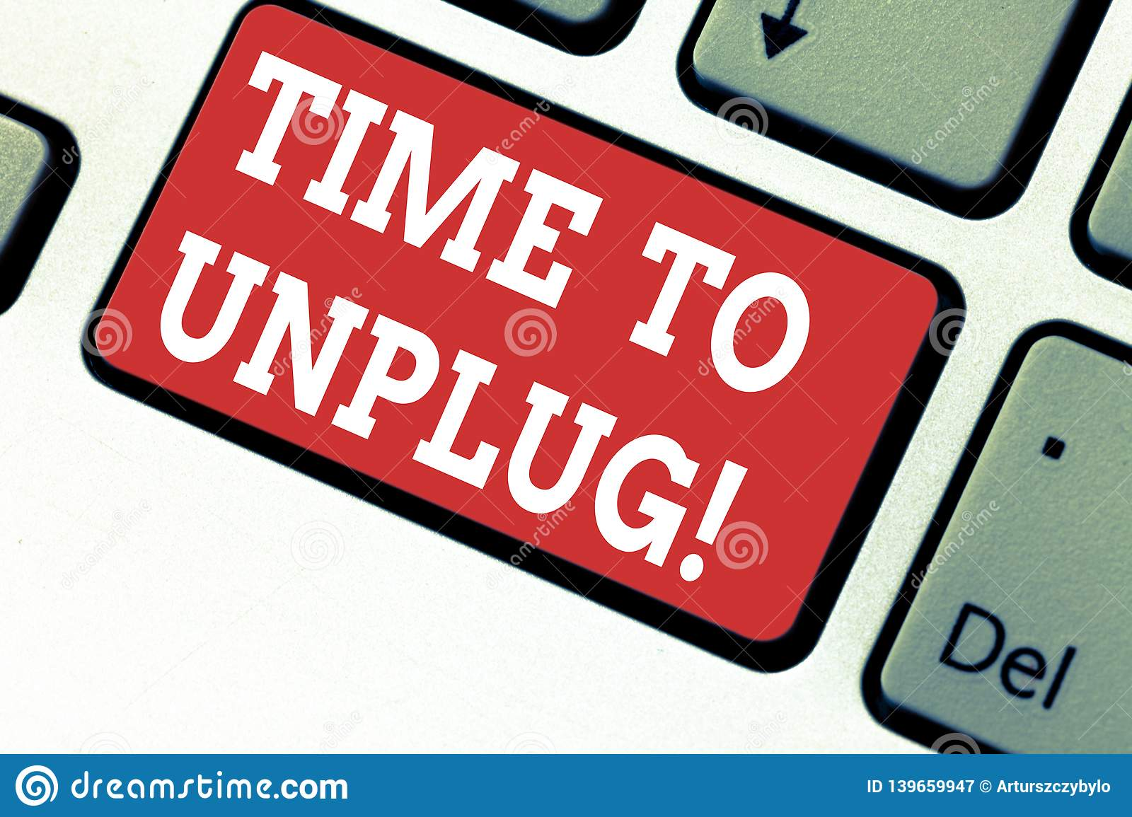 Handwriting text writing Time To Unplug. Concept meaning Relaxing giving up work disconnecting from everything Keyboard