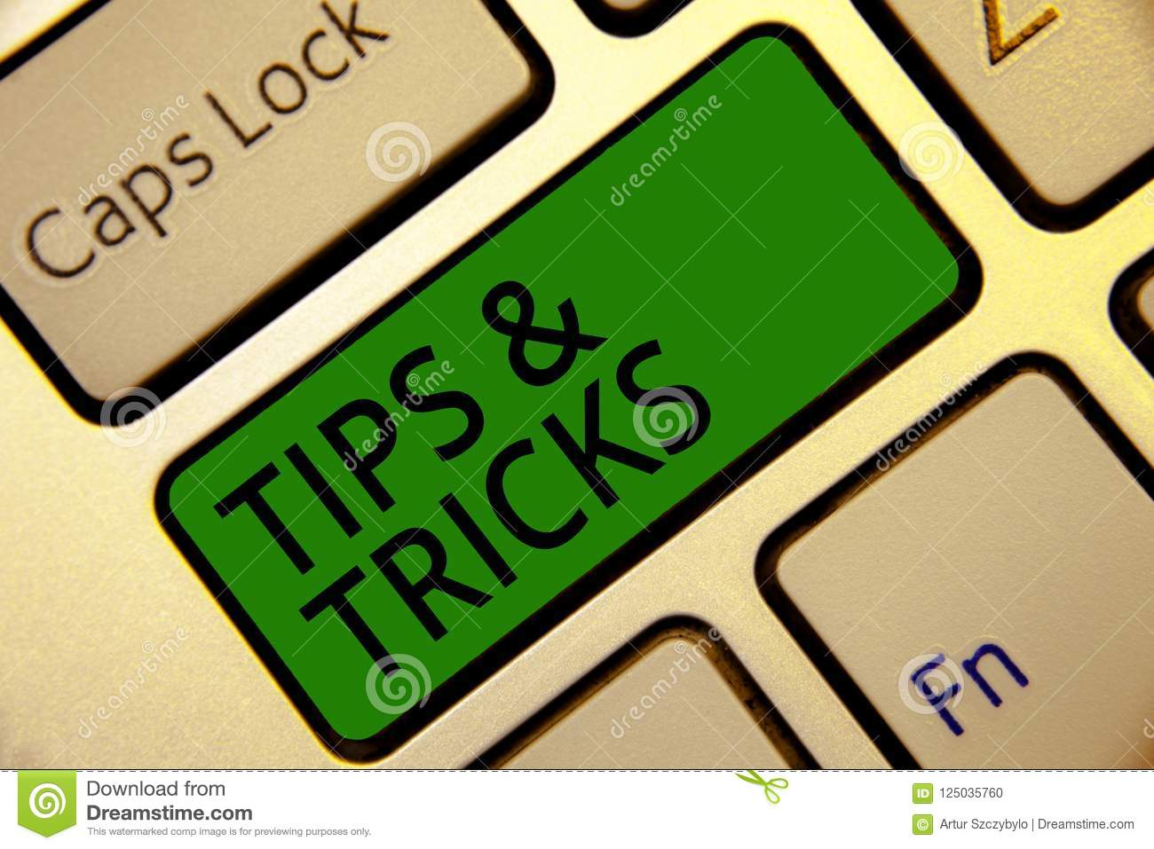 Handwriting text writing Tips and Tricks. Concept meaning Steps Lifehacks Handy advice Recommendations Skills Keyboard green key I