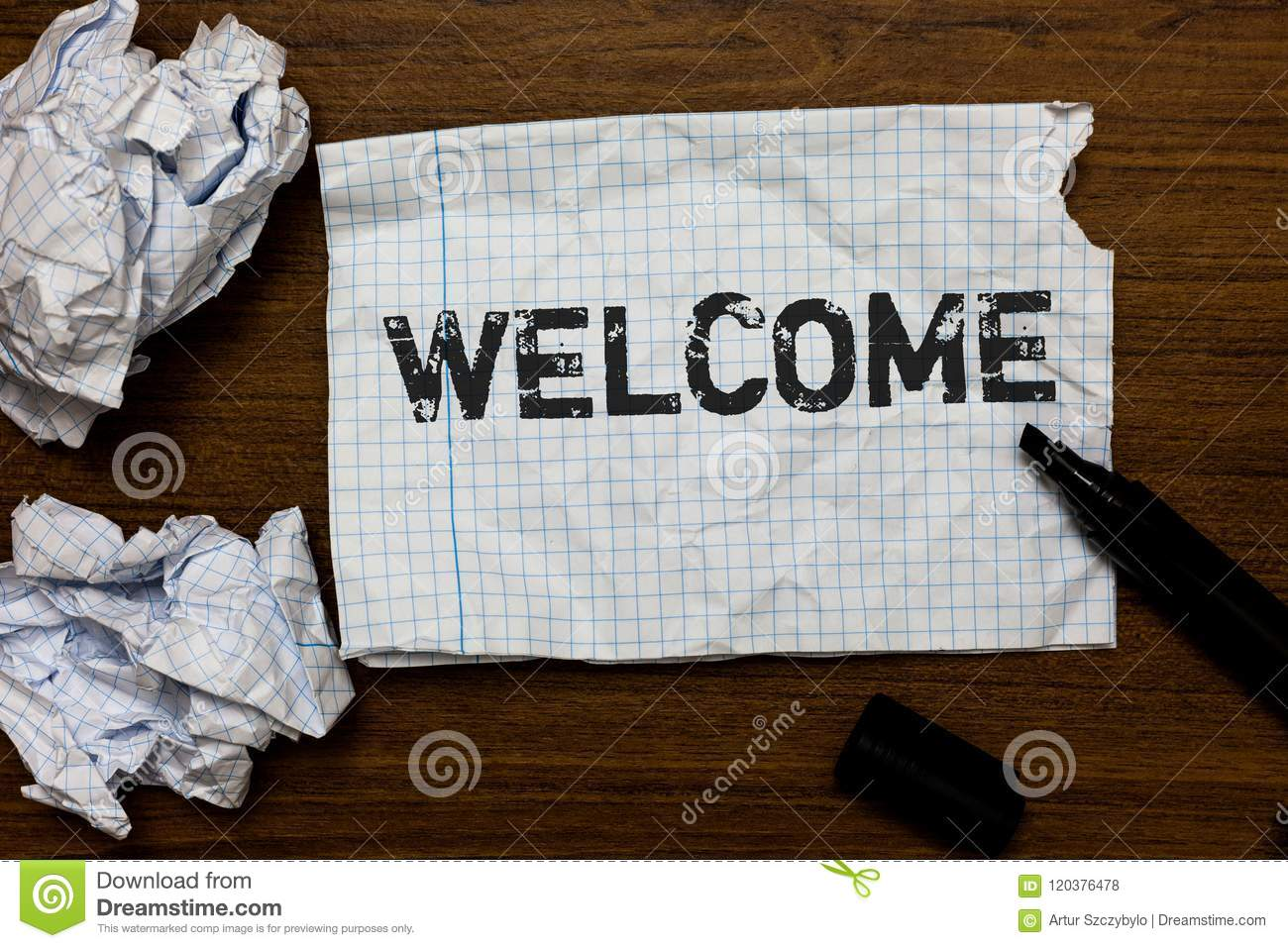 Handwriting text writing Welcome. Concept meaning Warm salutation acknowledgement for someone amiable loved thanked Ideas papers i