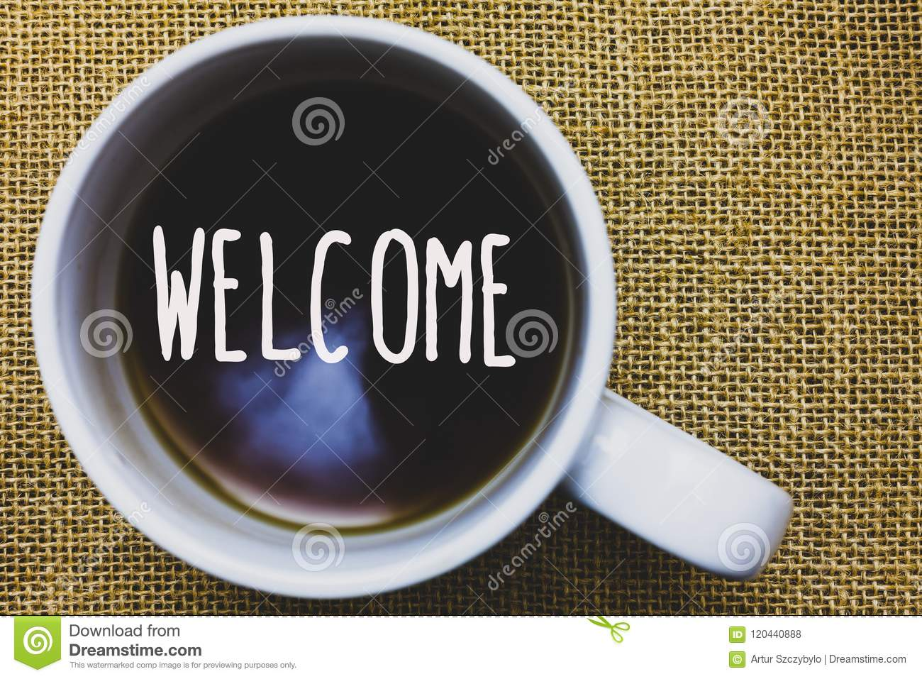 Handwriting text writing Welcome. Concept meaning Warm salutation acknowledgement for someone amiable loved thanked Mug coffee tho