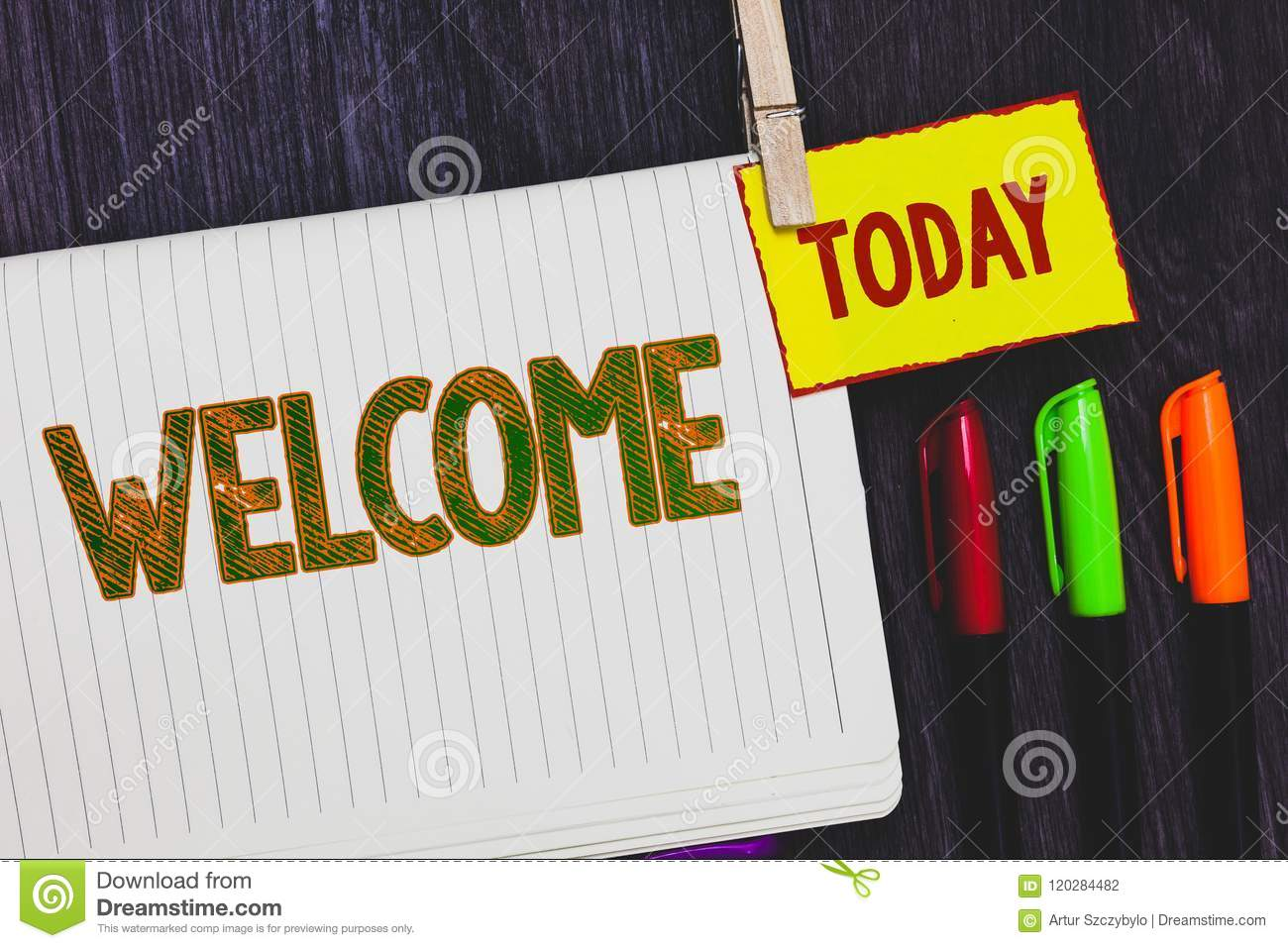 Handwriting text writing Welcome. Concept meaning Warm salutation acknowledgement for someone amiable loved thanked Papers marker