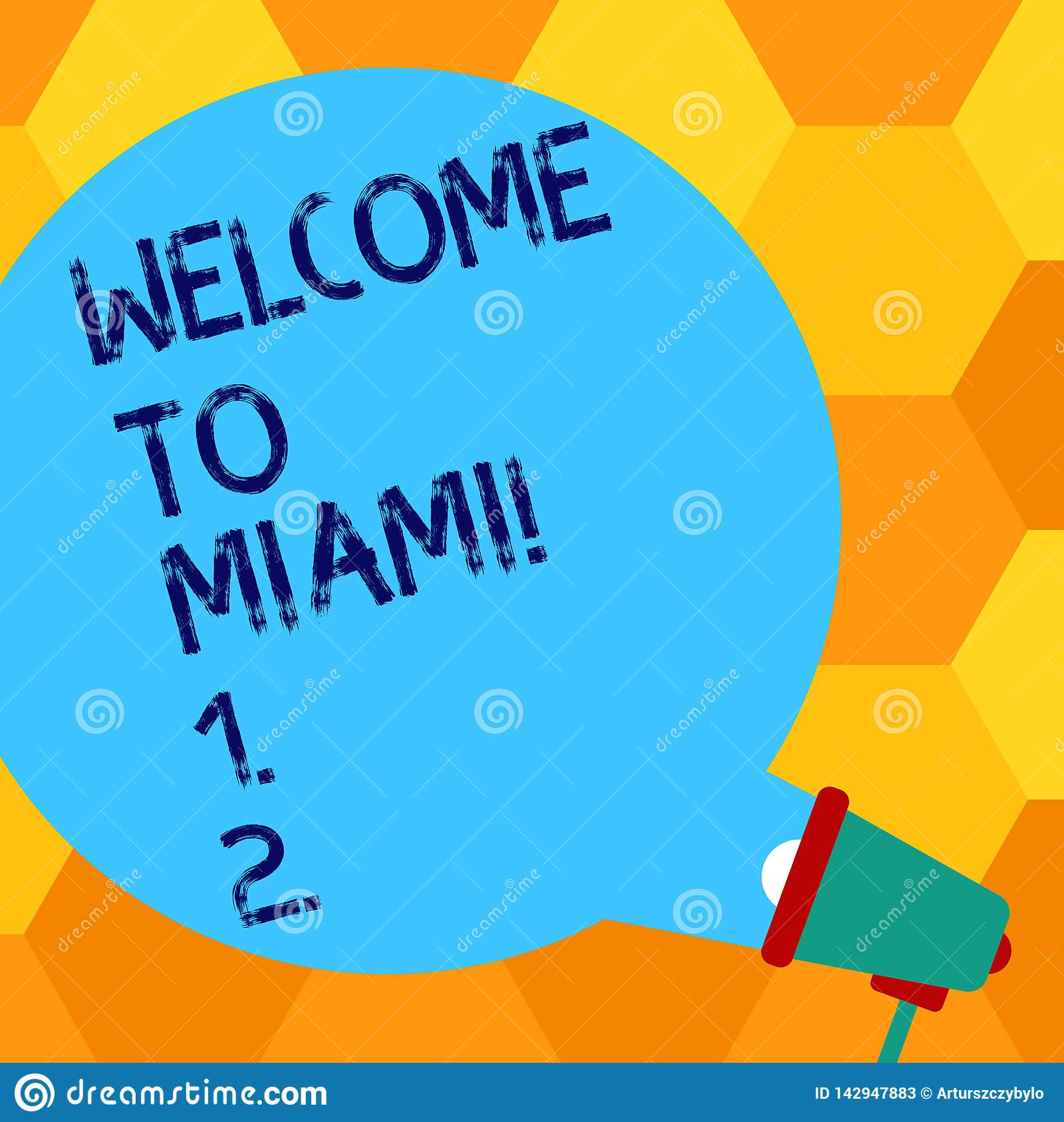 Handwriting text writing Welcome To Miami. Concept meaning Arriving to Florida sunny city summer beach vacation Blank