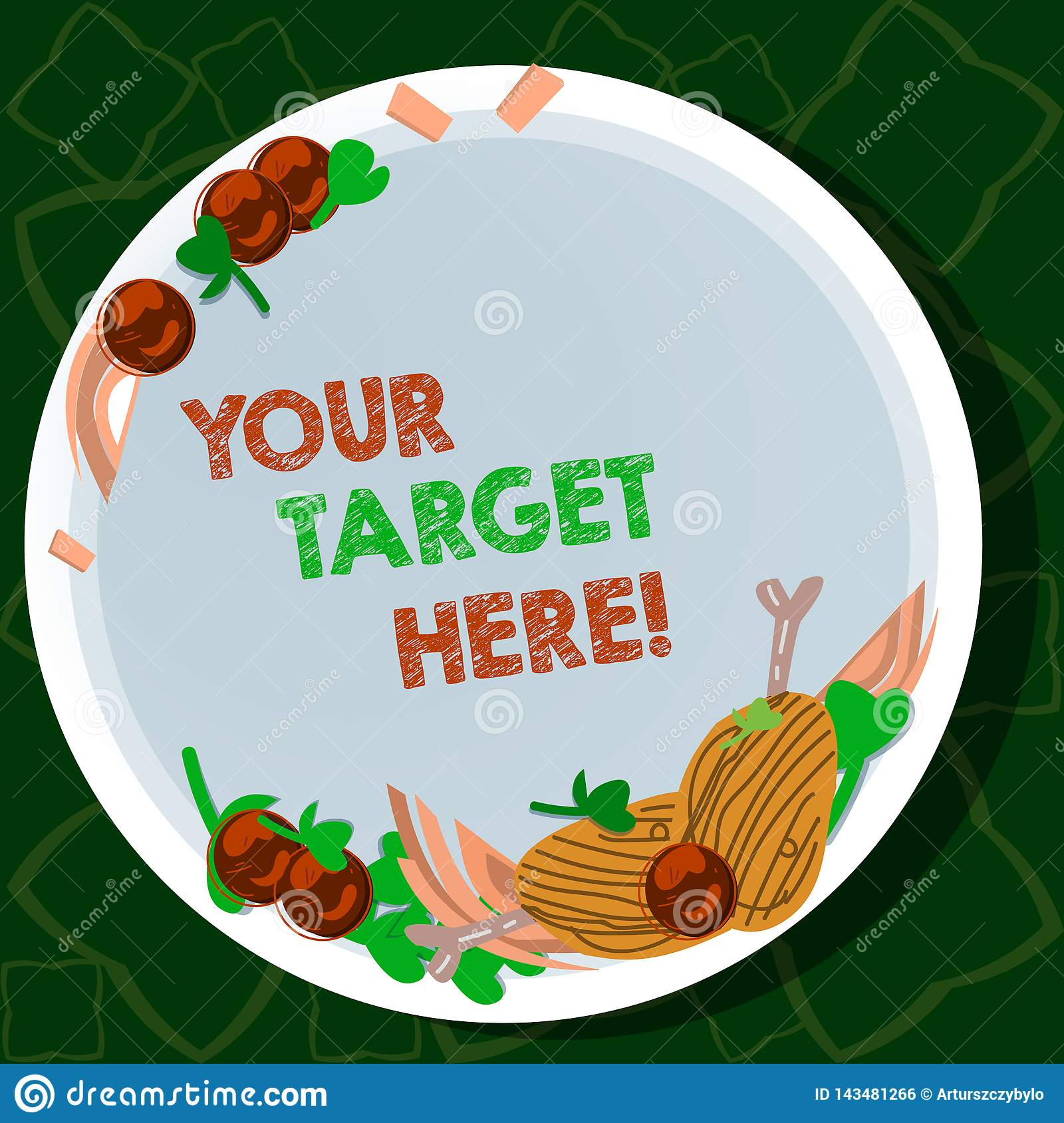 Handwriting text writing Your Target Here. Concept meaning Be focused on your goal objectives Strategy to succeed Hand