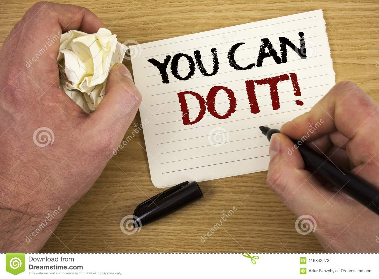 Handwriting text You Can Do It Motivational Call. Concept meaning Inspirational Message Motivational Positive Text two words white