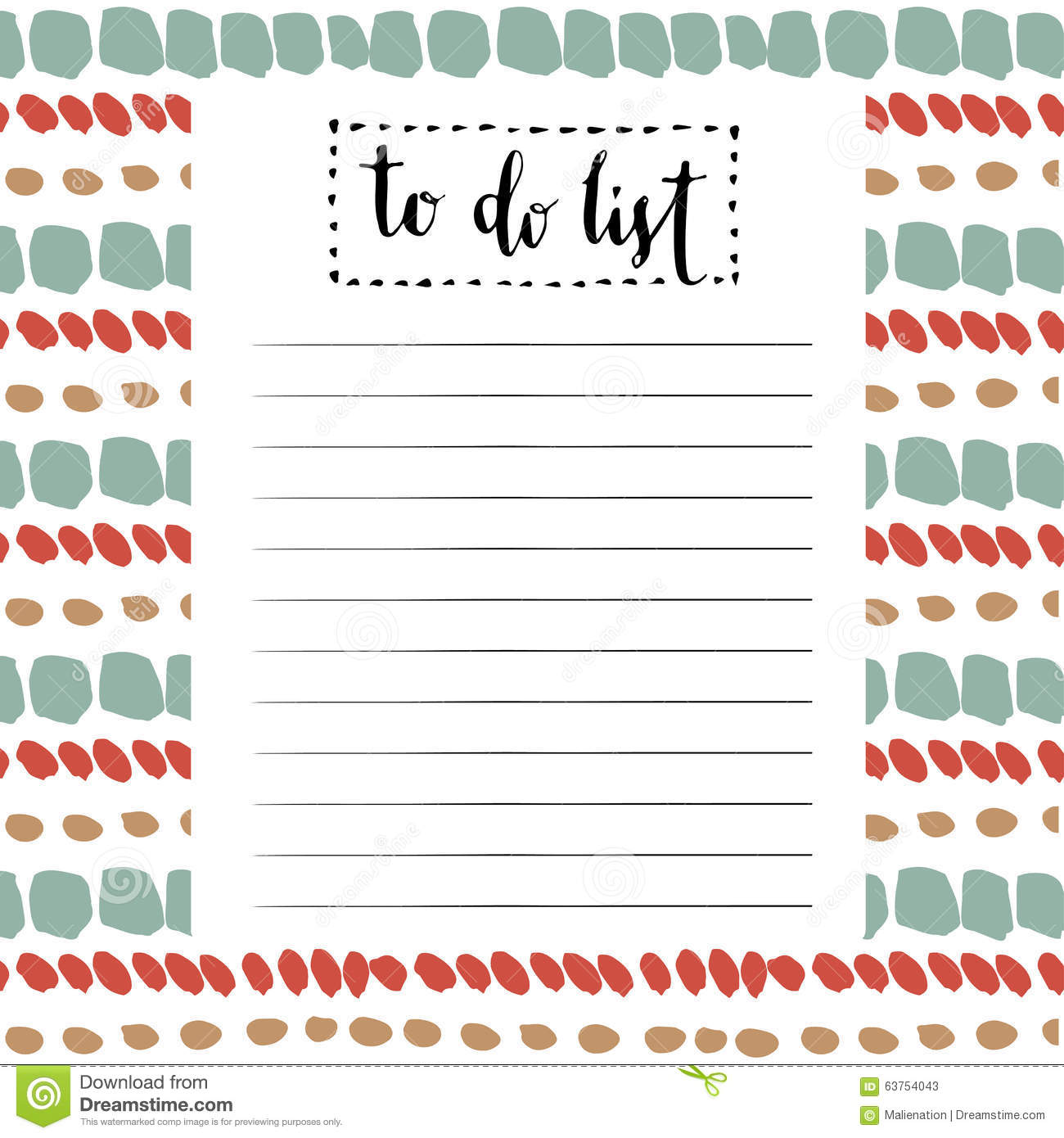 Bien-aimé Handwriting To Do List. Vector Cute Blank With Lettering Stock  HX77