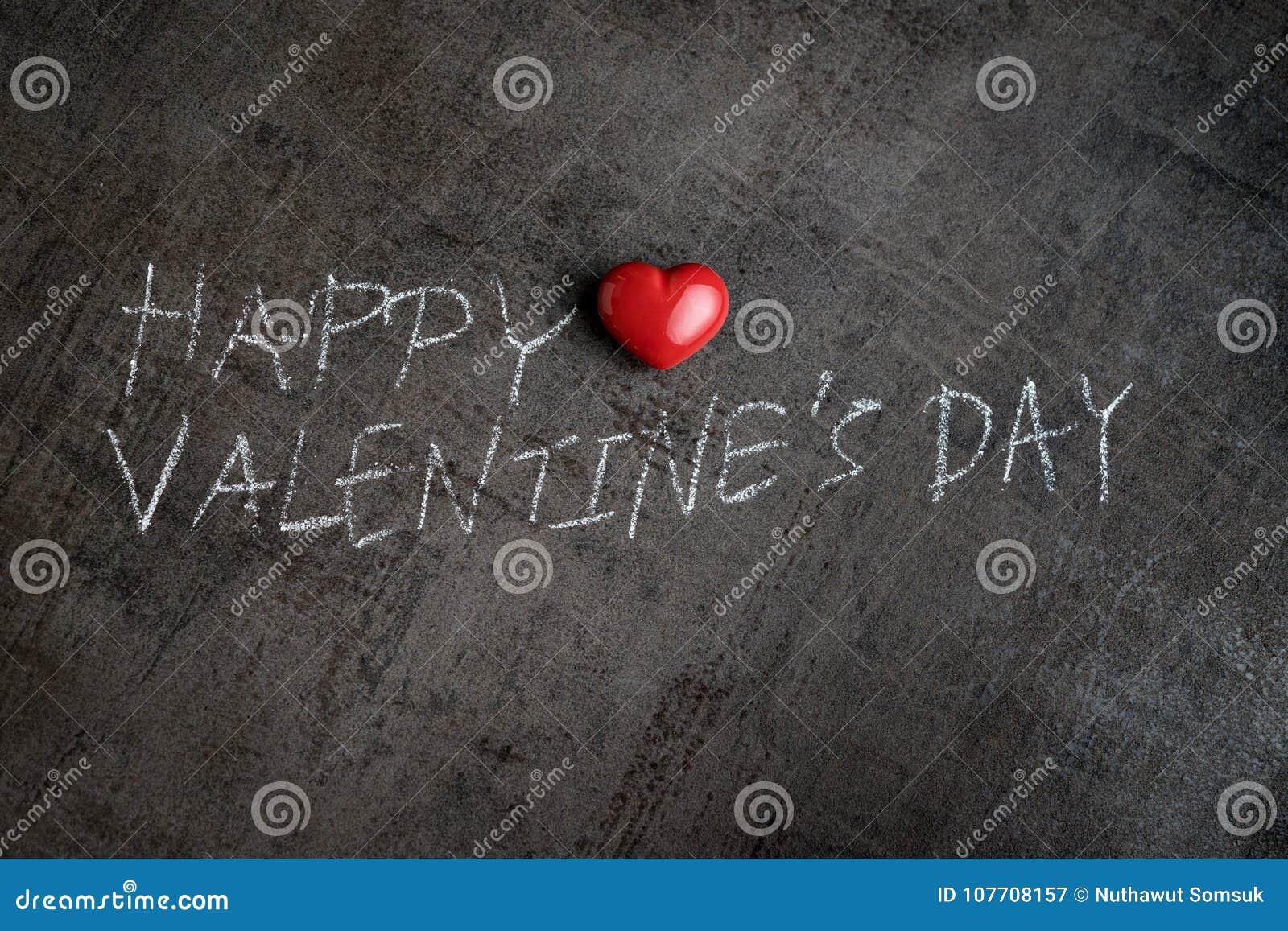 Handwriting with white chalk on cement wall Happy Valentine& x27;s da