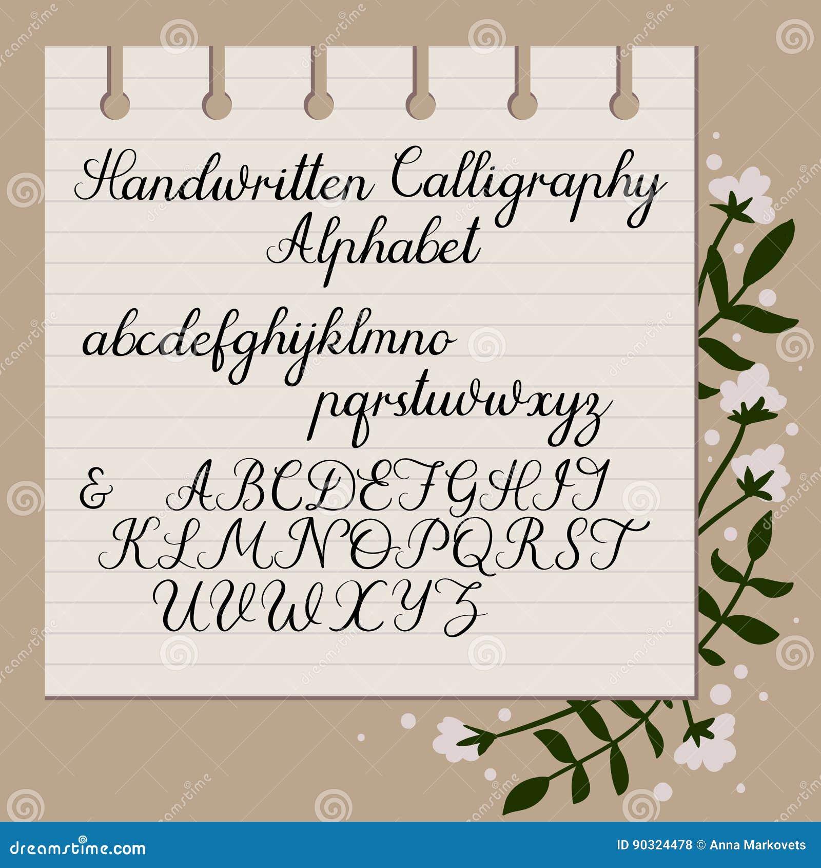 Handwritten alphabet modern calligraphy uppercase