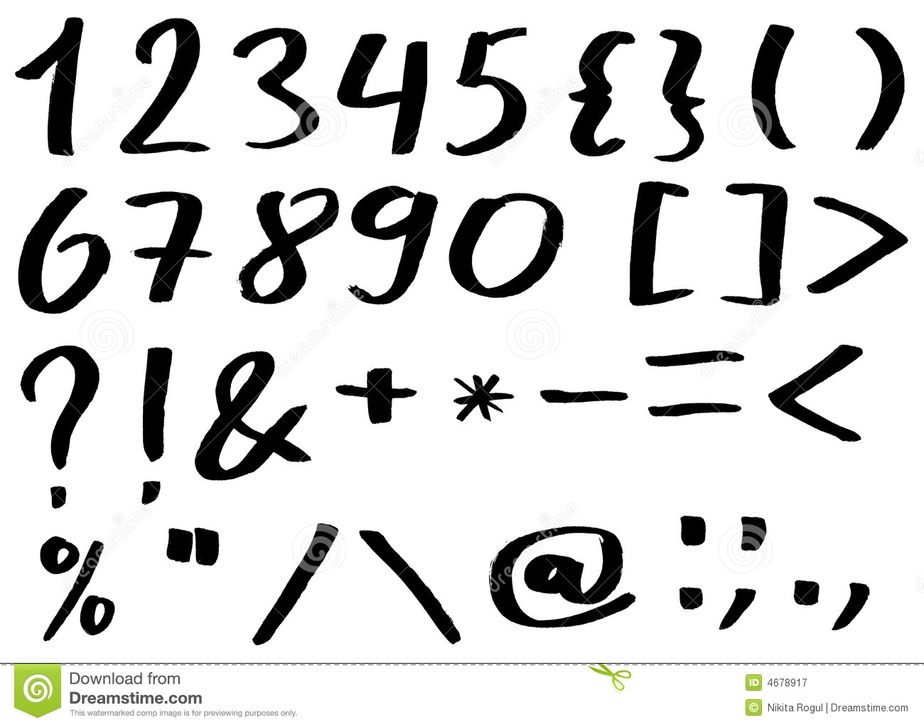handwritten alphabet - numbers and punctuation royalty free stock photography