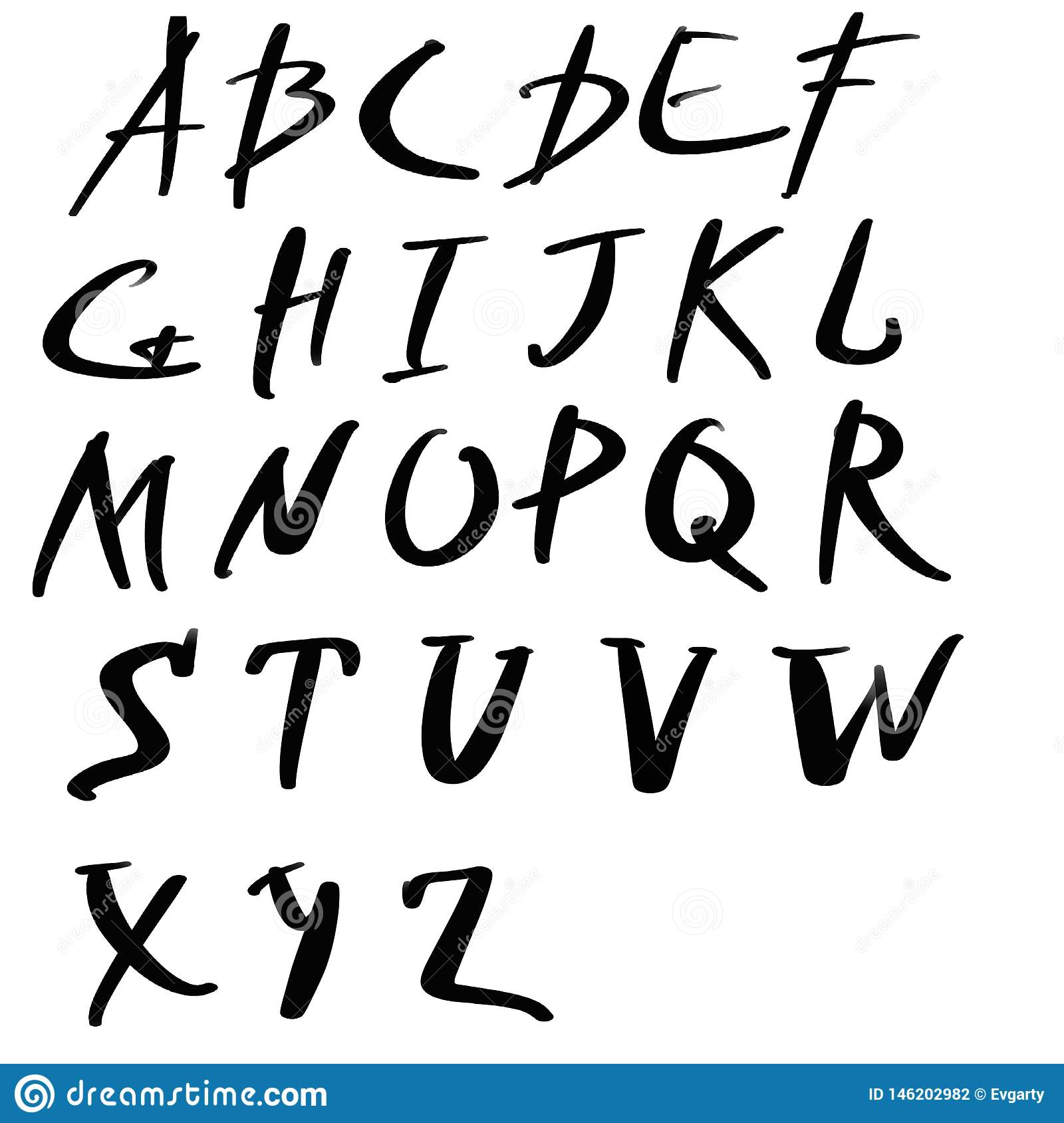 Handwritten Artistic Font Isolated Letters On White Background Hand Drawn Alphabet For Your Design Stock Illustration Illustration Of Handmade Home 146202982