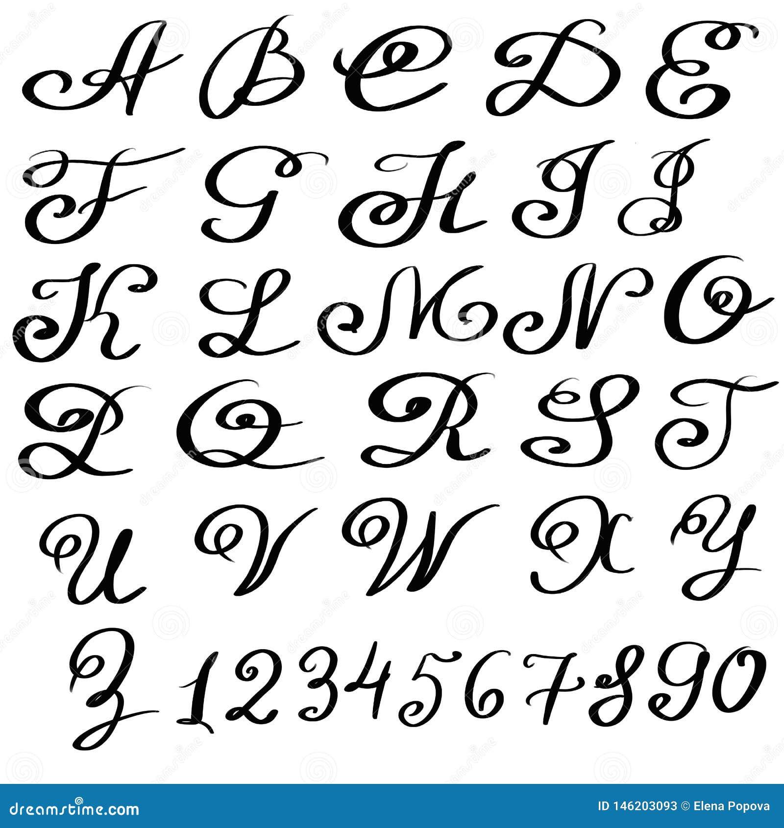 Handwritten Artistic Font Isolated Letters On White Background Hand Drawn Alphabet For Your Design Stock Illustration Illustration Of Design Alphabet 146203093