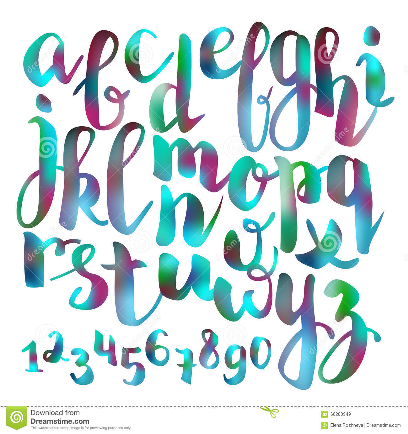 Handwritten brush pen colorful font stock illustration