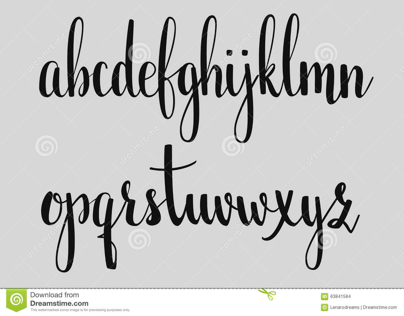 Handwritten Brush Style Calligraphy Cursive Font Stock Illustration