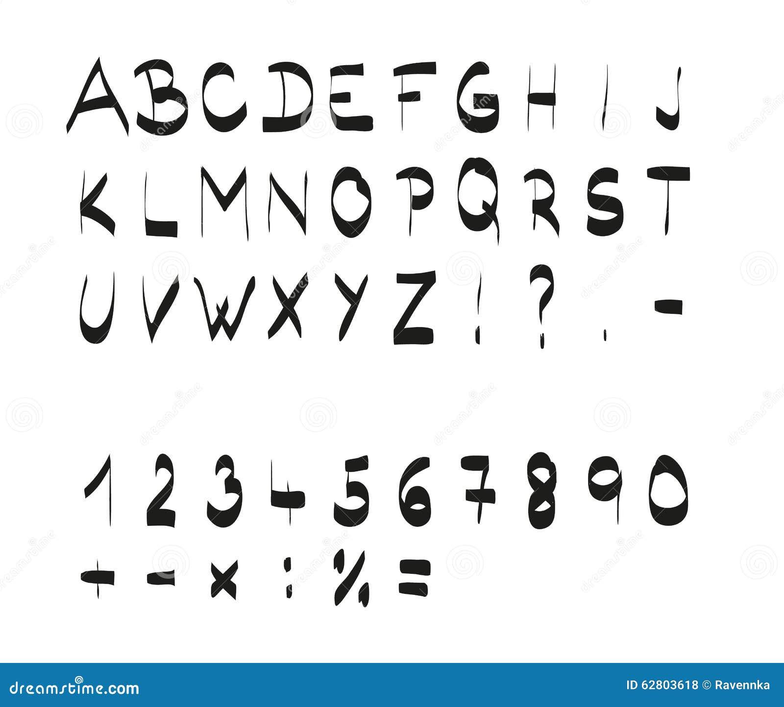 Handwritten Calligraphic Black Alphabet Font Stock Vector
