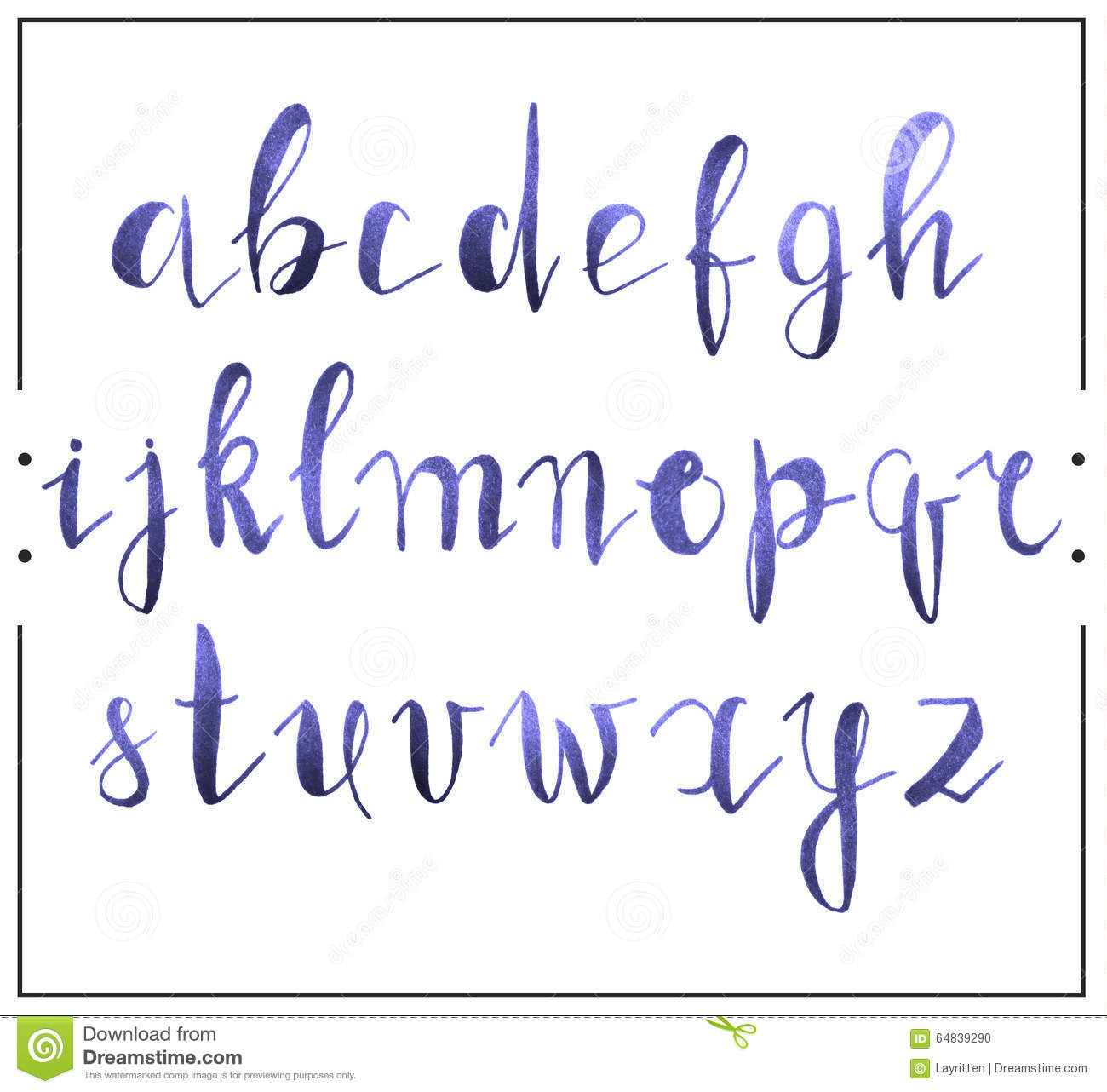Handwritten Calligraphic Font Alphabet Written By A Marker
