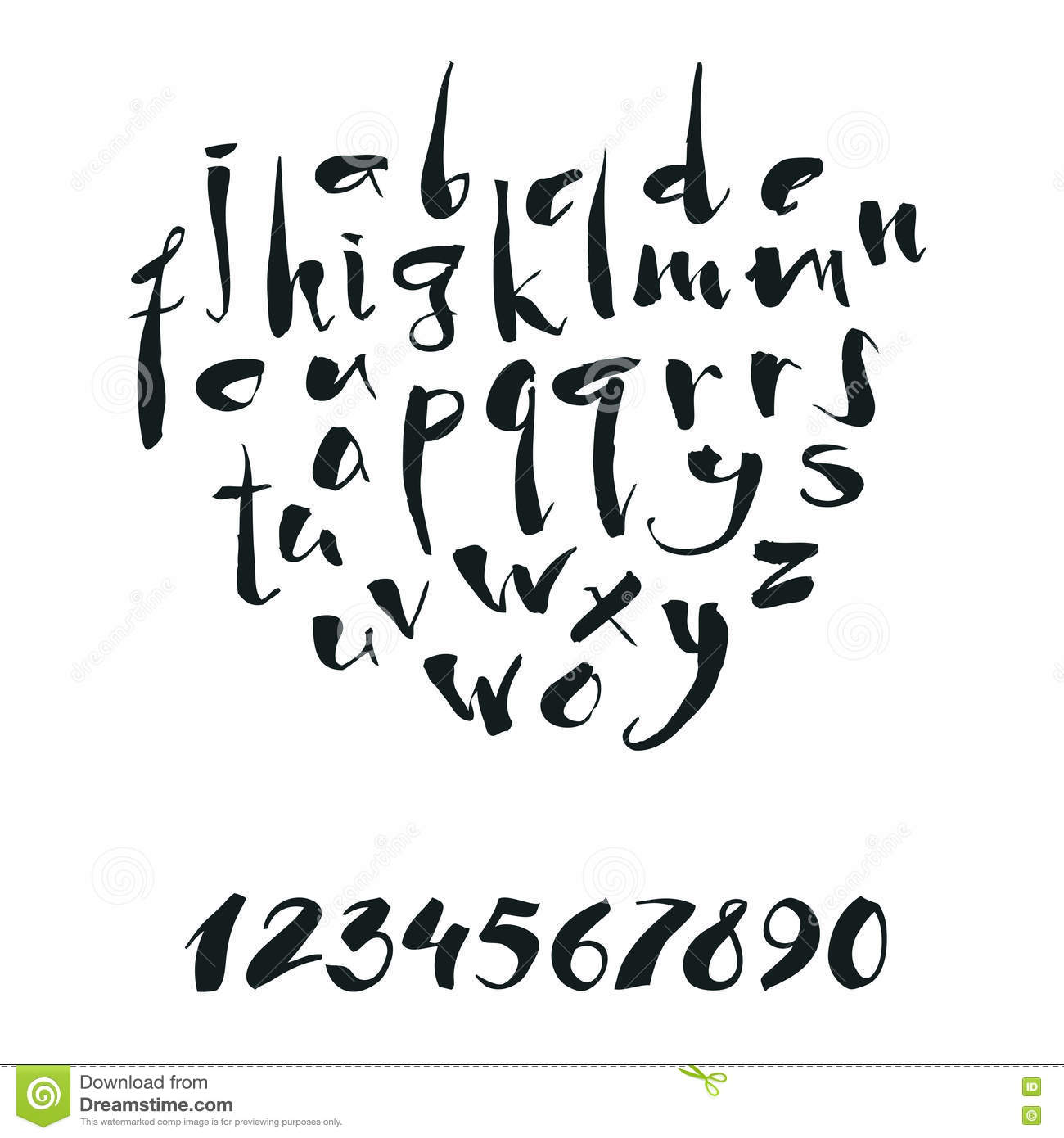 Handwritten Calligraphy Alphabet And Numbers Stock Vector