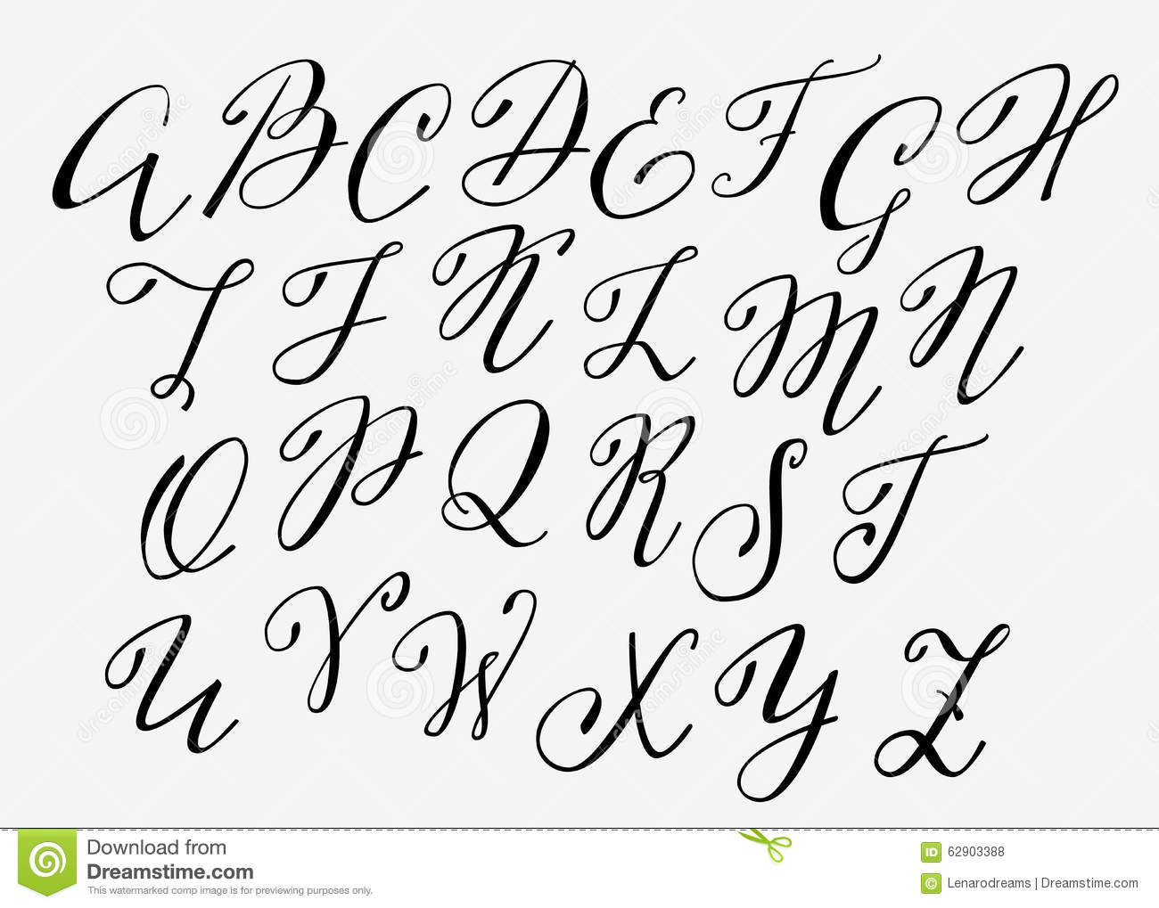 Handwritten calligraphy flourish font stock illustration
