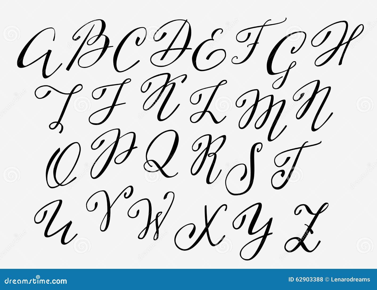Handwritten Calligraphy Flourish Font Stock Illustration - Image ...