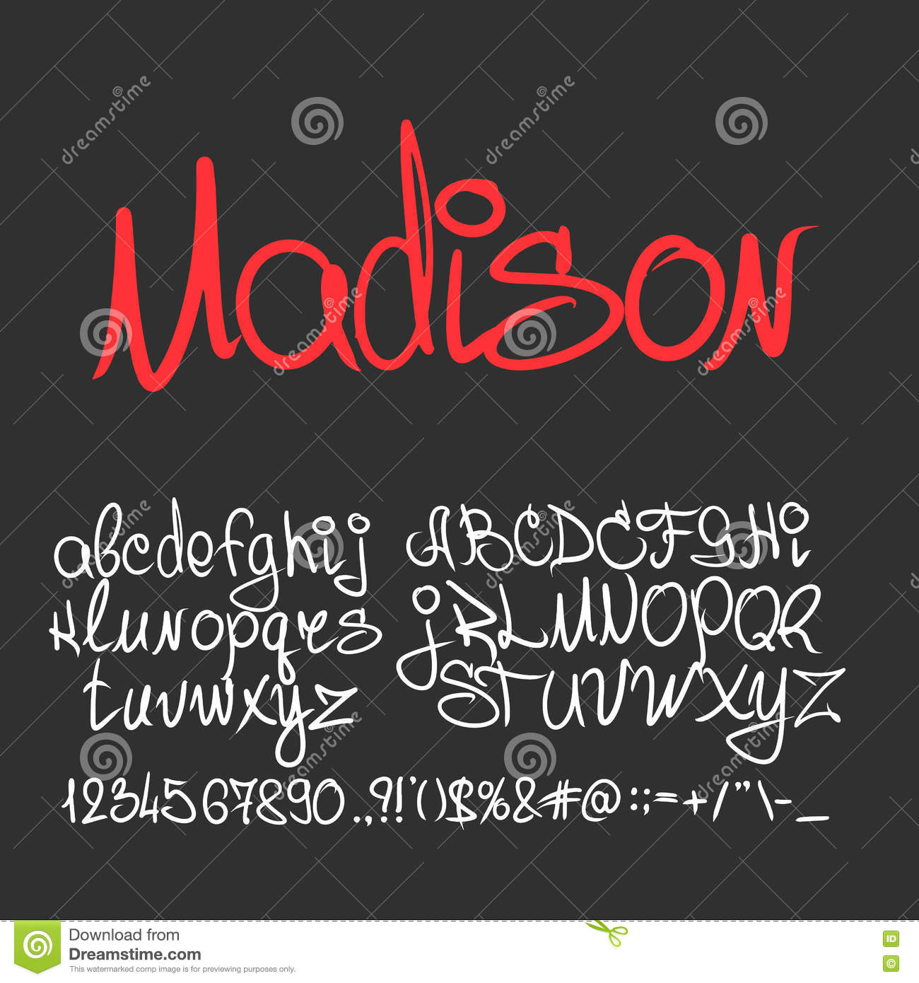 Handwritten Calligraphy Font Letters, Numbers Stock Vector ...