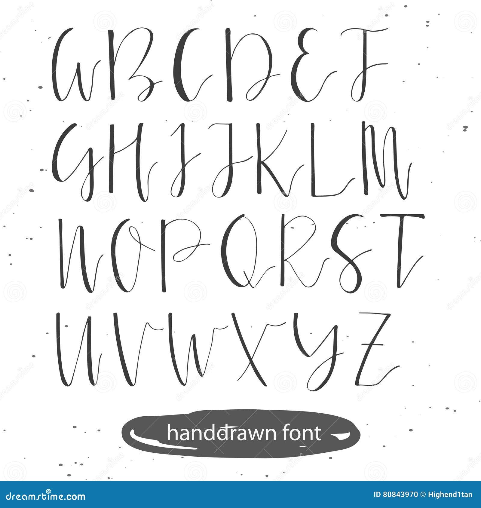 handwritten calligraphy font. stock vector - illustration of black