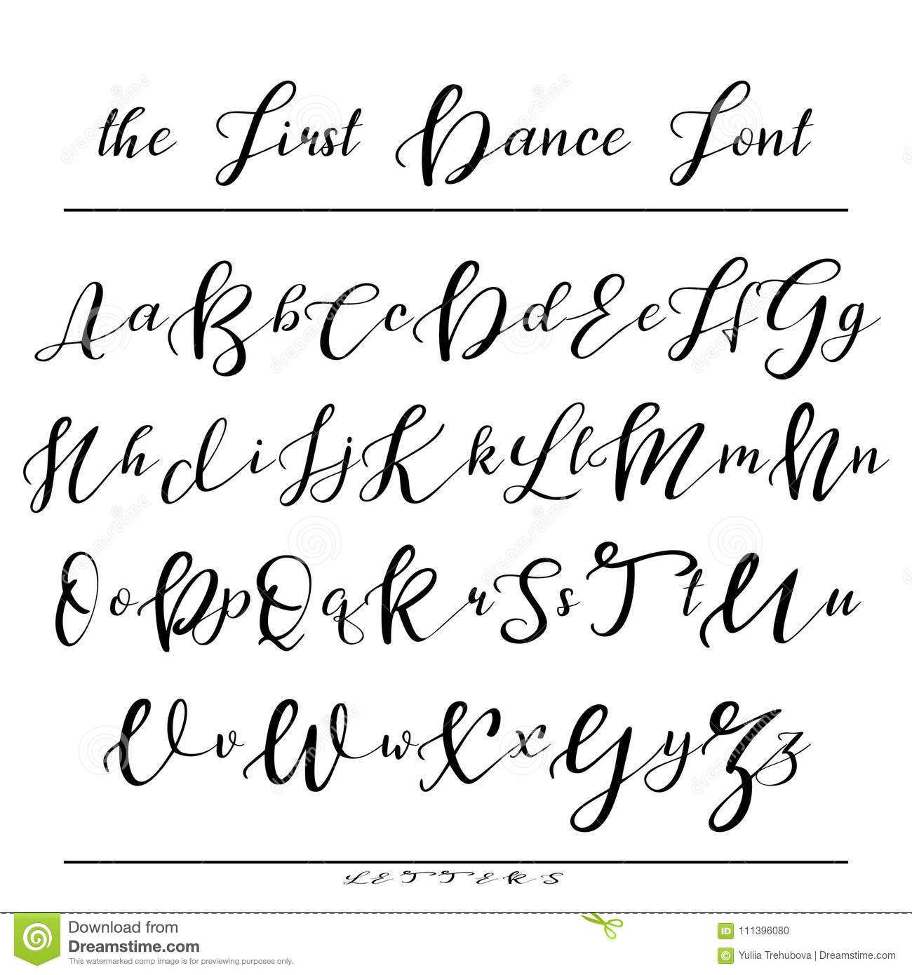 Handwritten Calligraphy Font Vector Alphabet Hand Drawn Letters