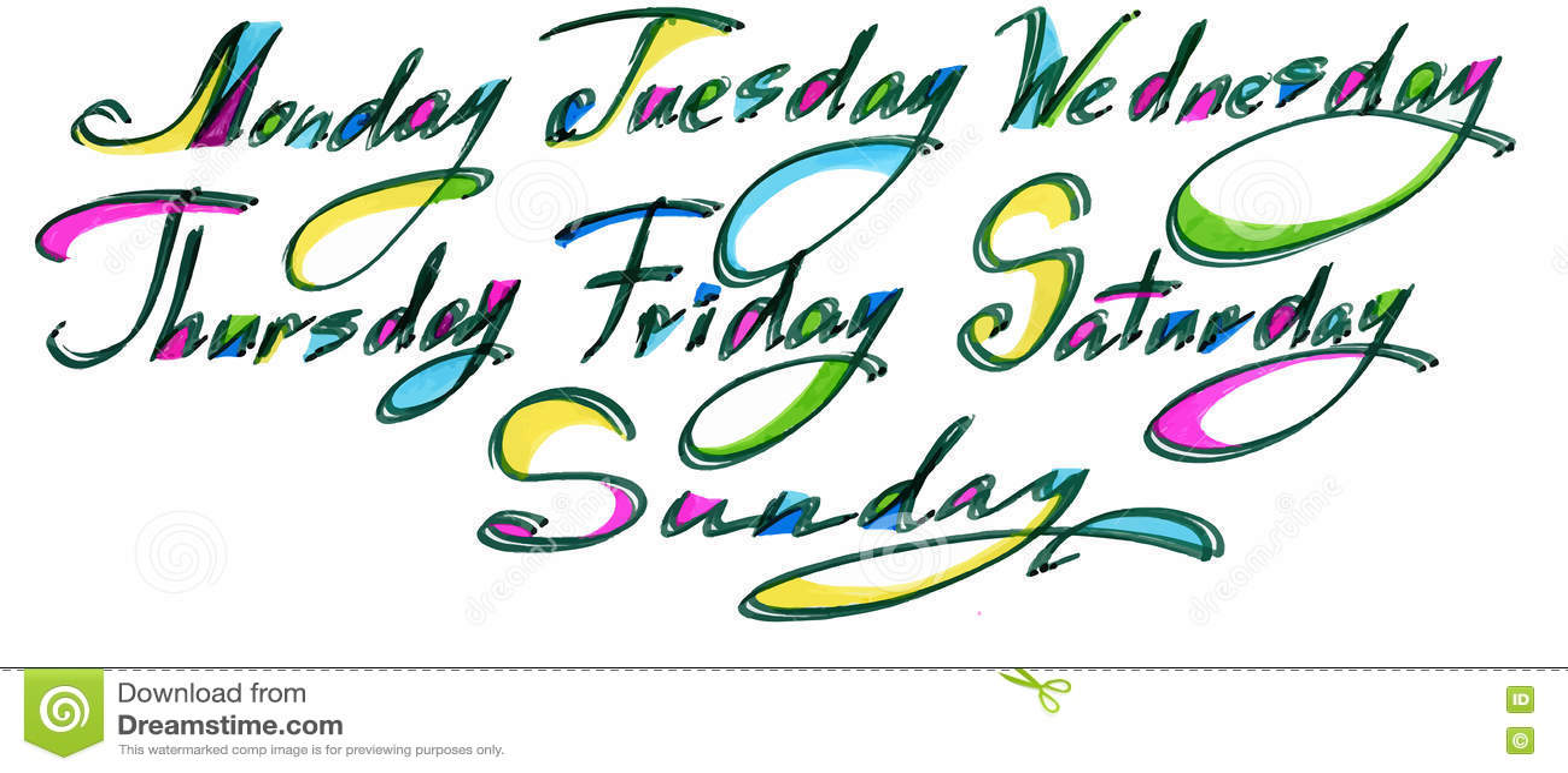 handwritten days of the week monday tuesday wednesday thursday