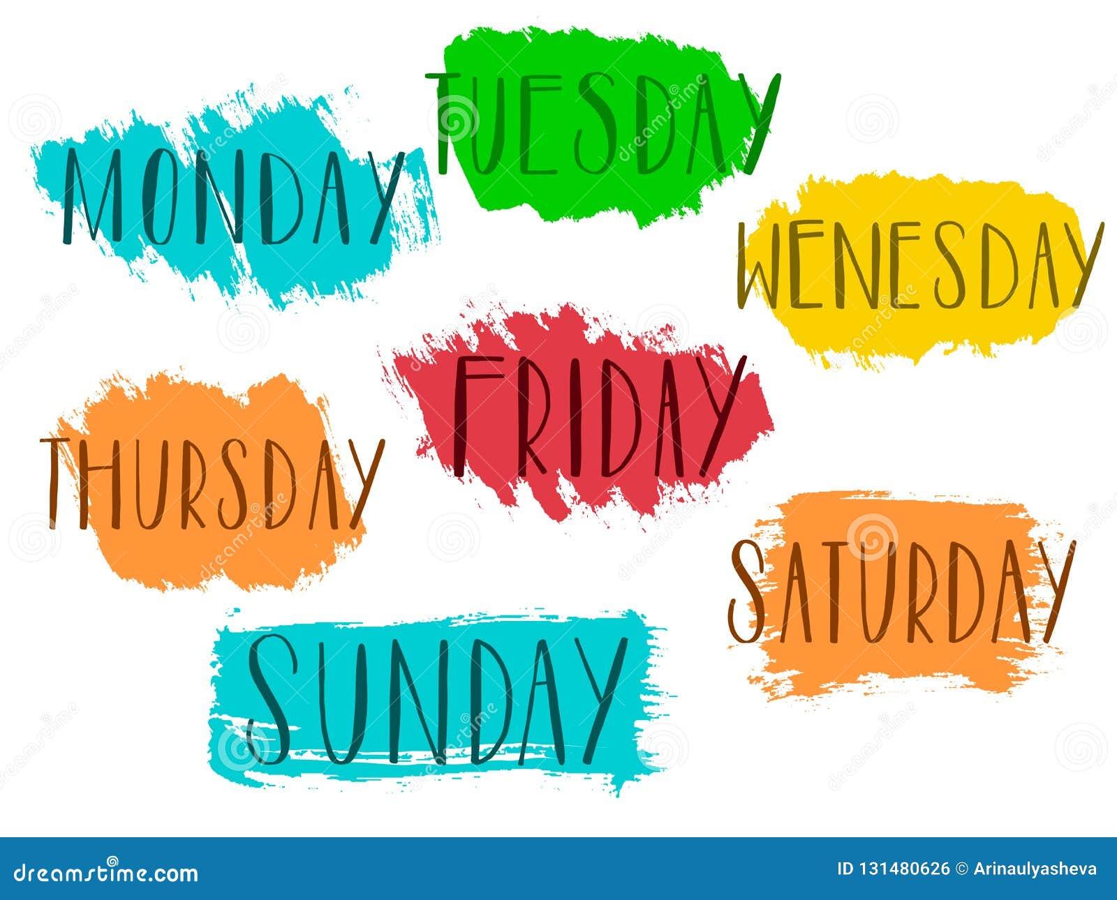 Handwritten Days Of The Week Monday Tuesday Wednesday