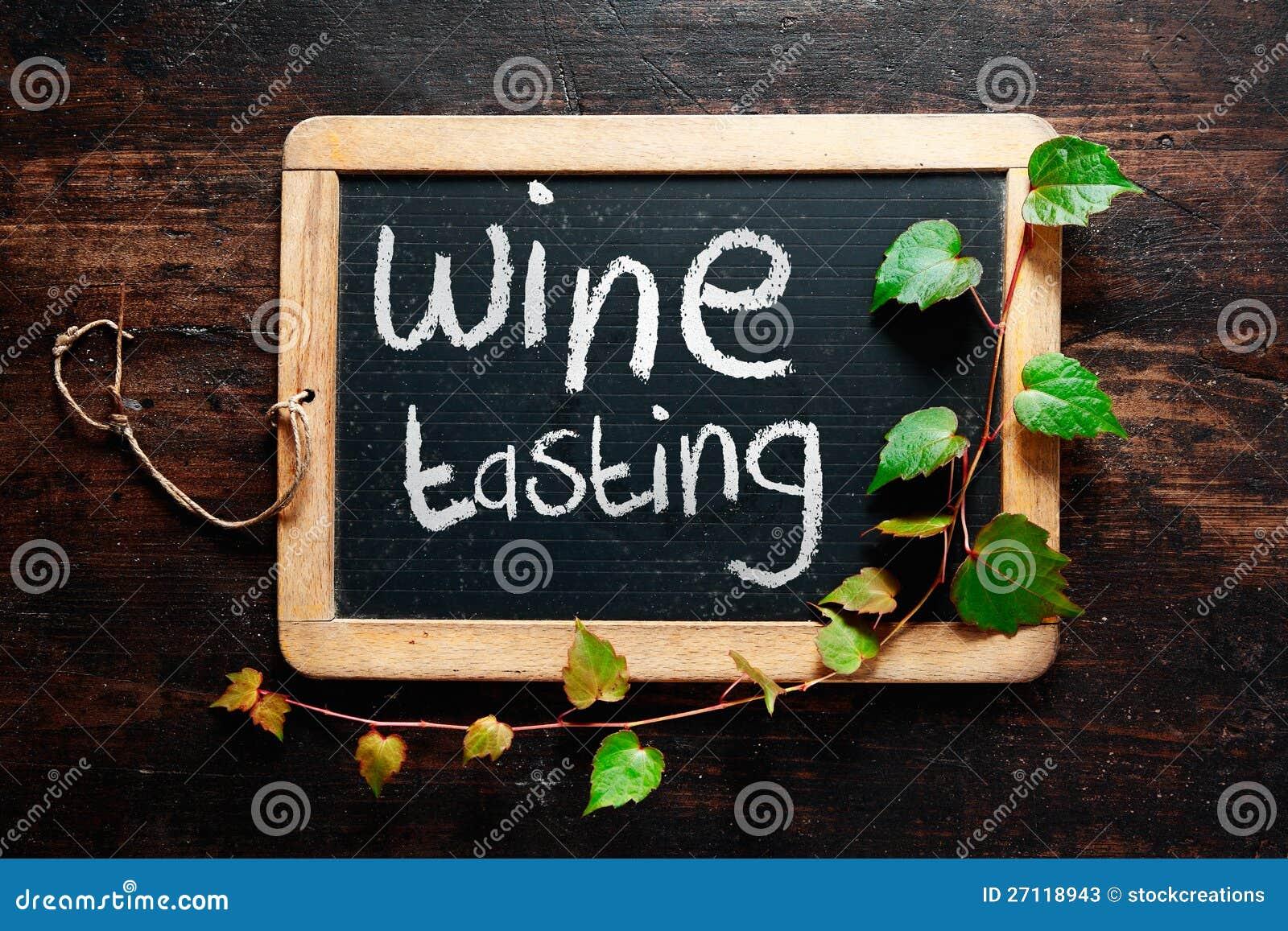 handwritten decorative wine tasting sign stock photos   image 27118943