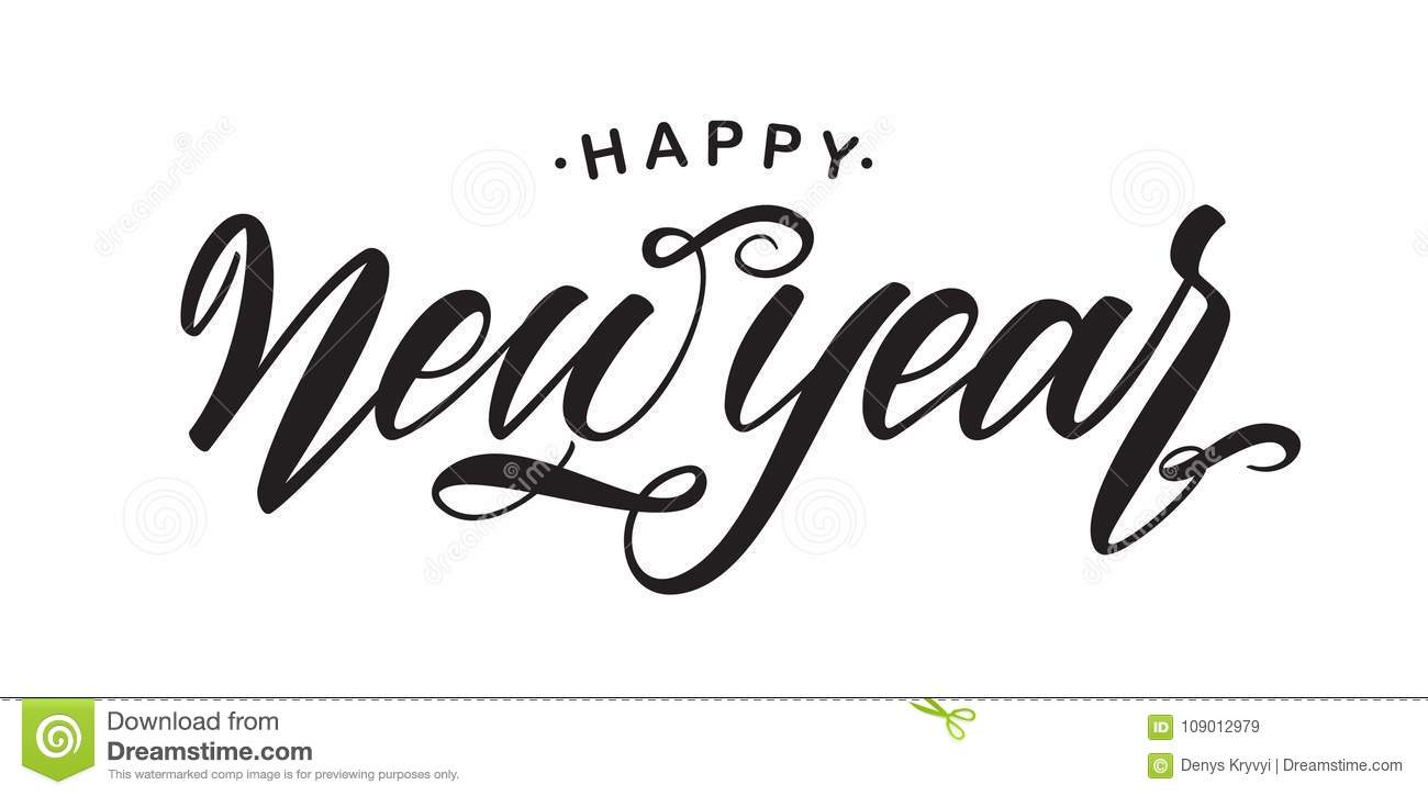 handwritten elegant brush lettering of happy new year isolated on white background