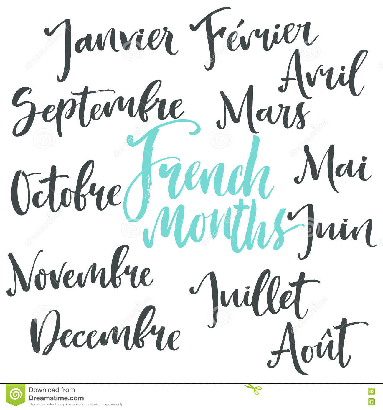 Handwritten French Months Stock Vector - Image: 72590691