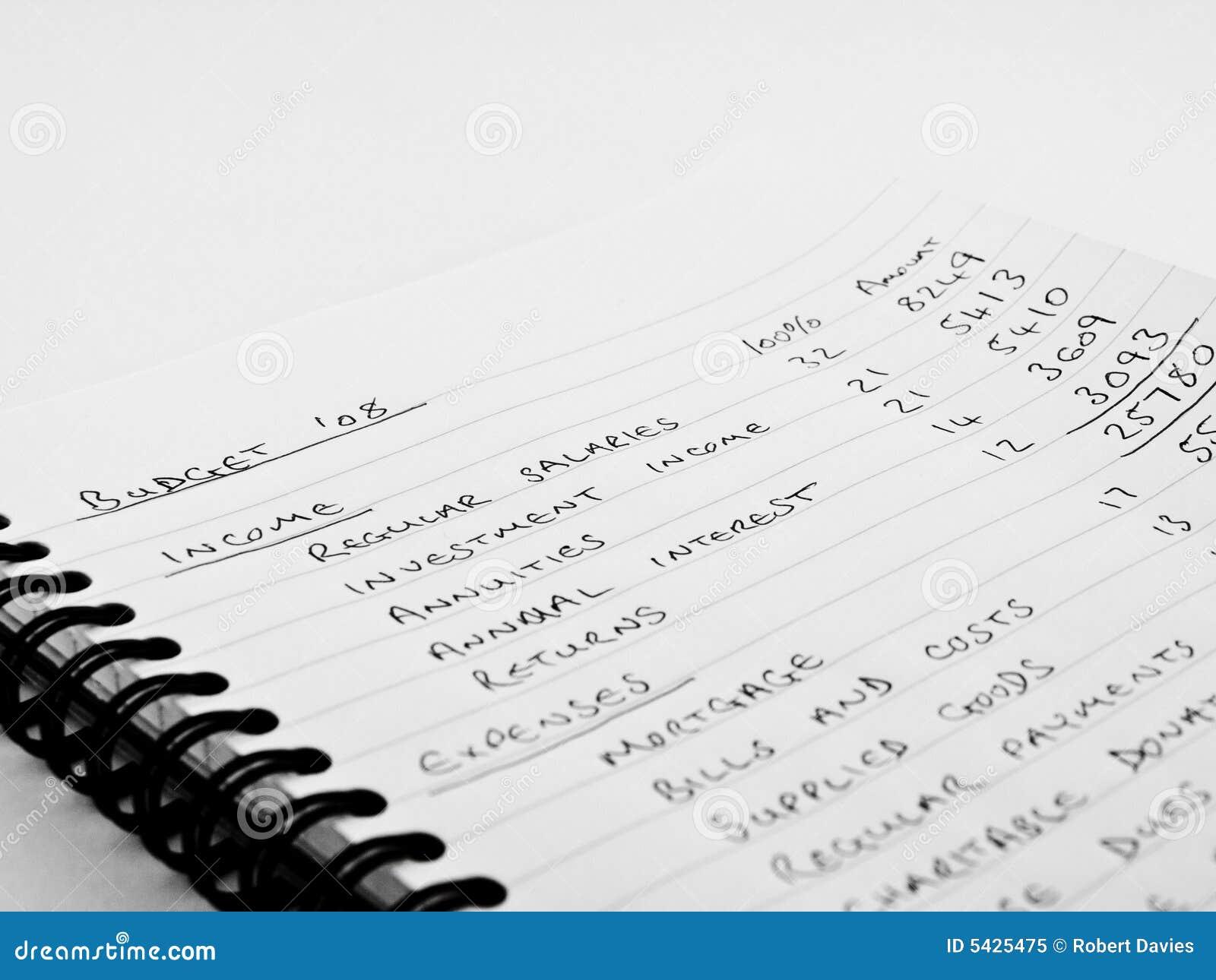 Handwritten Home Budget On Lined Notebook Paper Stock Image Handwritten  Home Budget Lined Notebook Paper 5425475  Notebook Paper Download