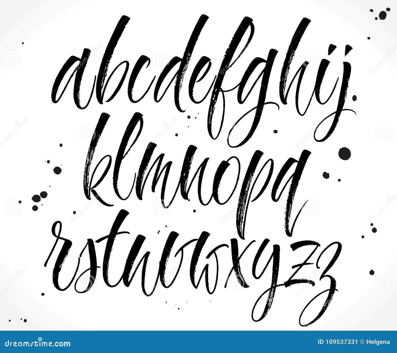 Handwritten Lettering Alphabet  Vector Stock Vector