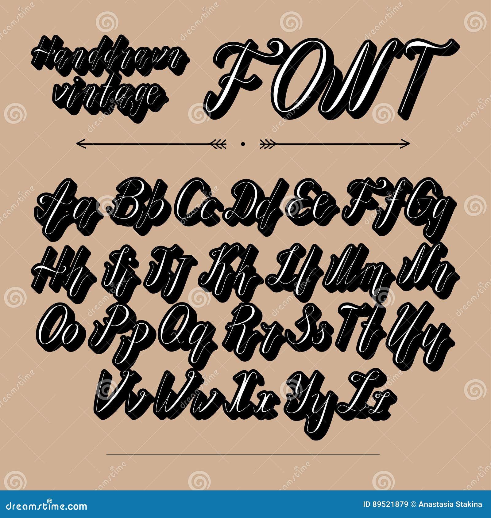 Handwritten Lettering Font Alphabet Stock Vector - Illustration of