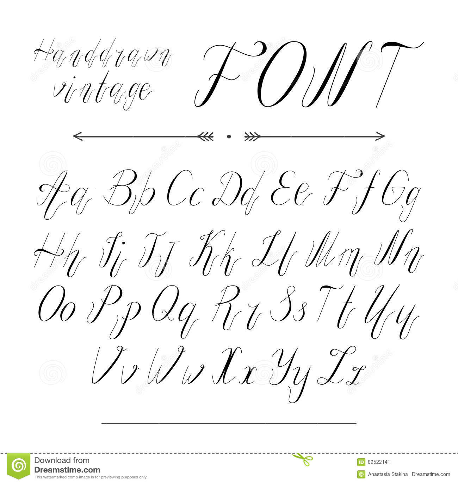Handwritten Lettering Font Alphabet Stock Vector