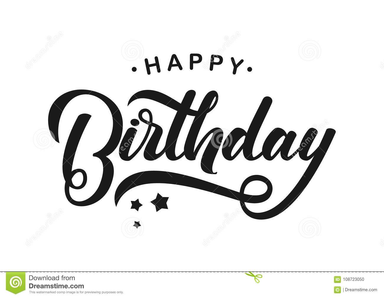 Download Handwritten Modern Brush Lettering Of Happy Birthday On White Background Typography Design Greetings
