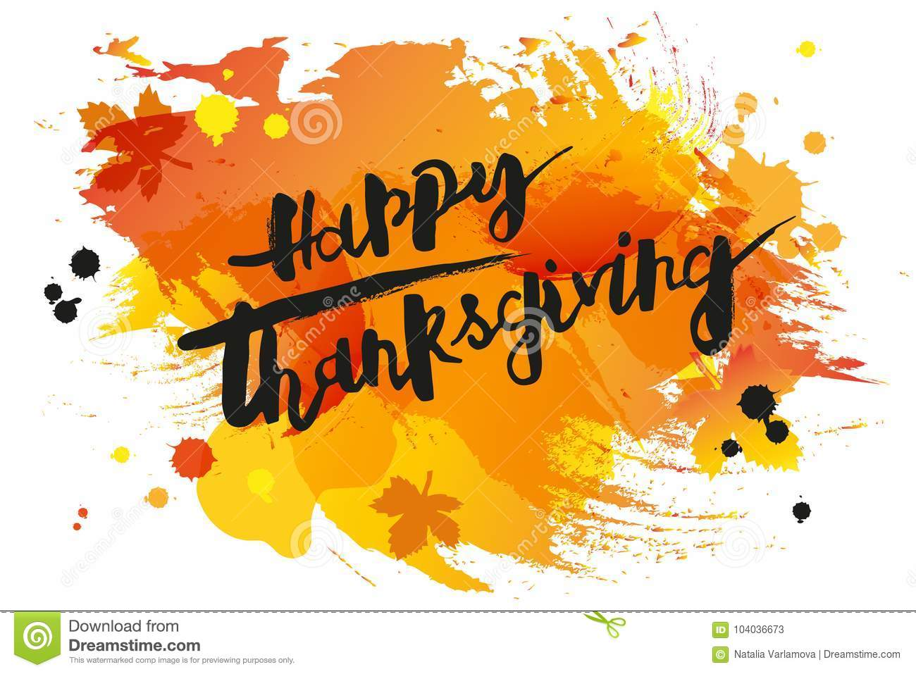 Download Handwritten Modern Lettering Happy Thanksgiving On Watercolor Imitation Background Stock Vector