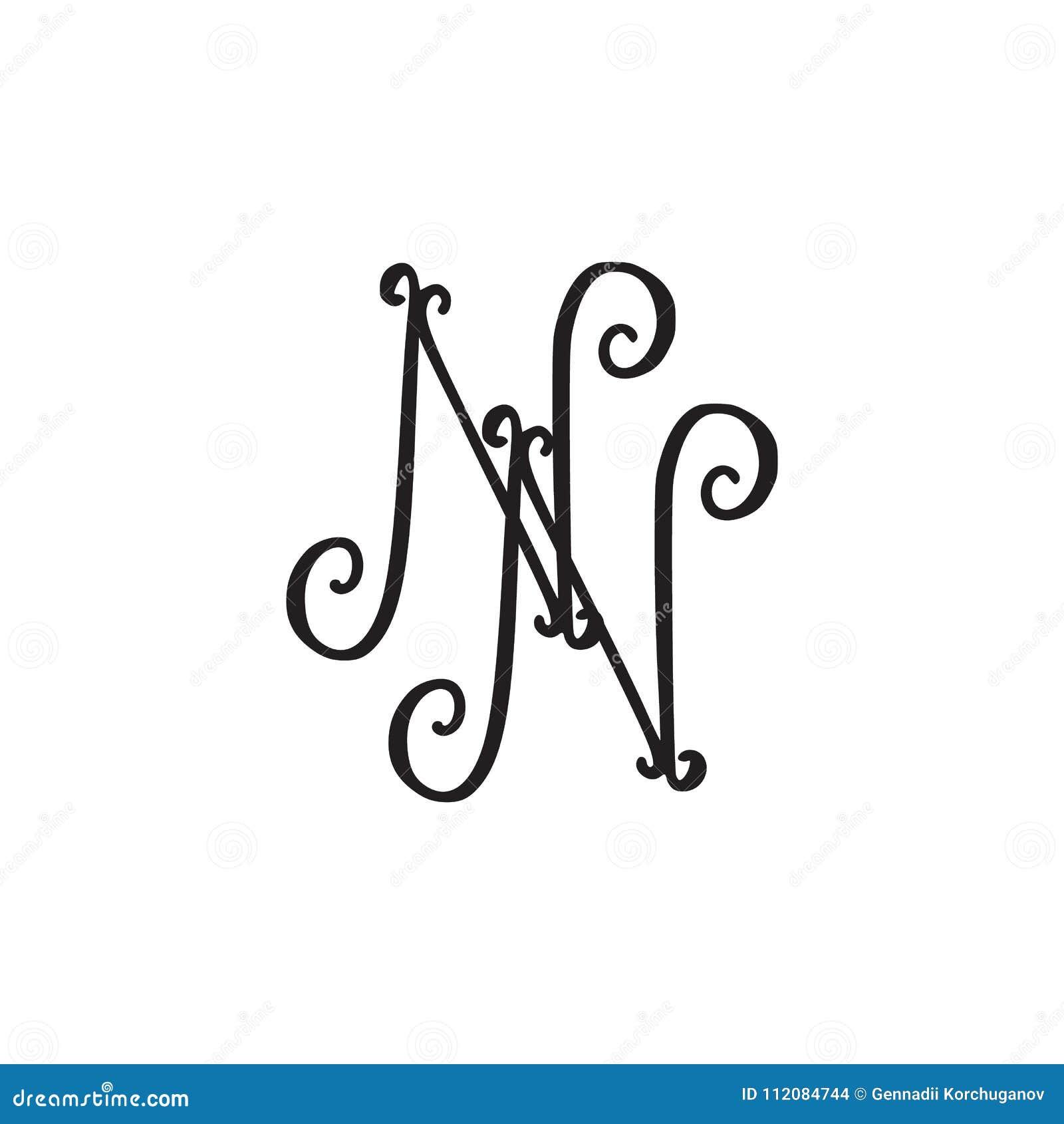 Handwritten Monogram NN Icon S...